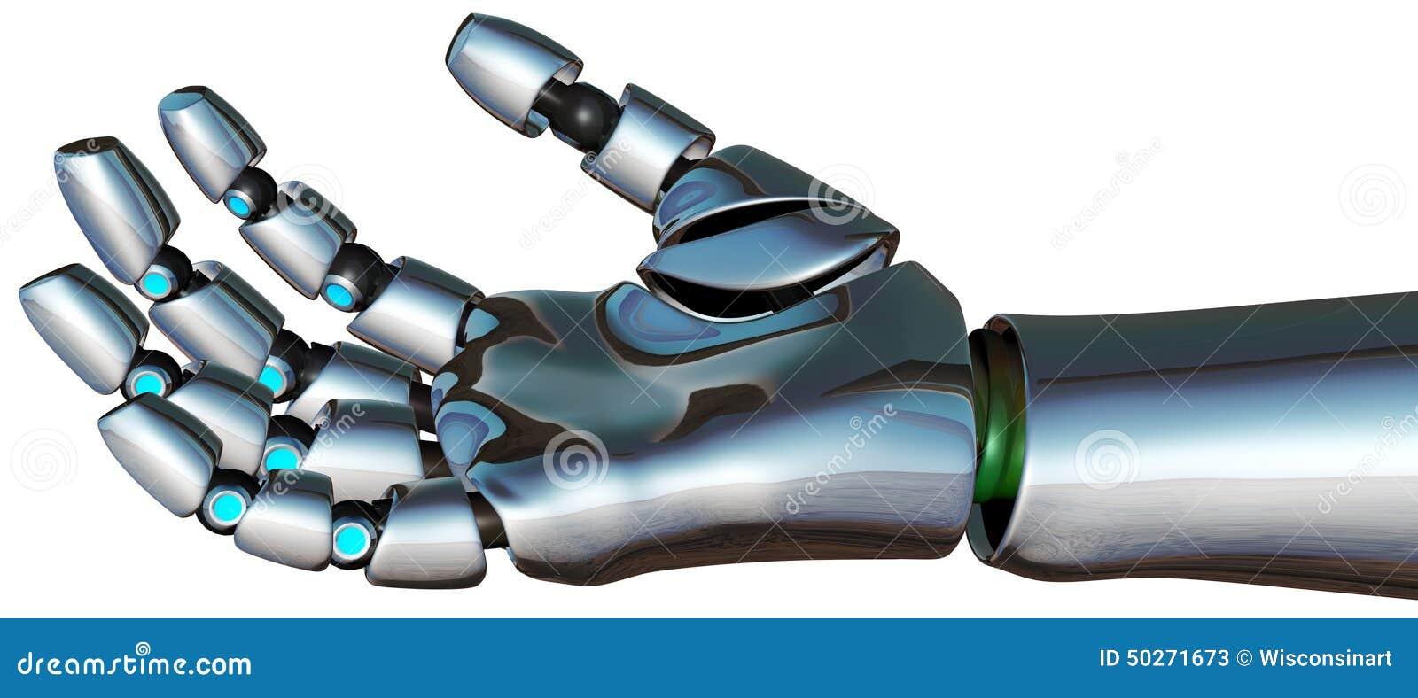 Mão De Android Do Cyborg Do Robô Isolada Ilustração Stock