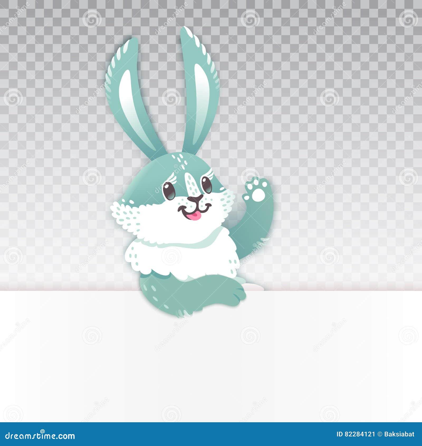 mão de ondulação dos desenhos animados bonitos do coelho vector a