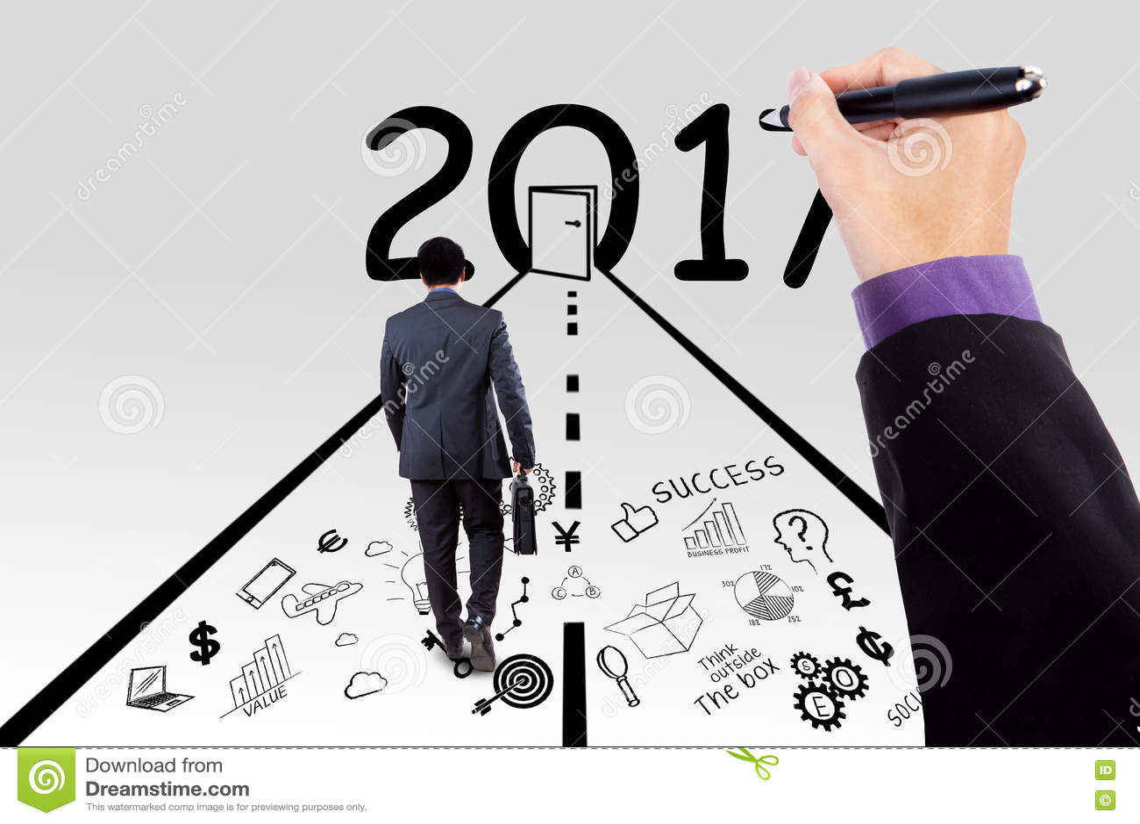 Mão do chefe e do homem de negócios que planeiam o bom futuro