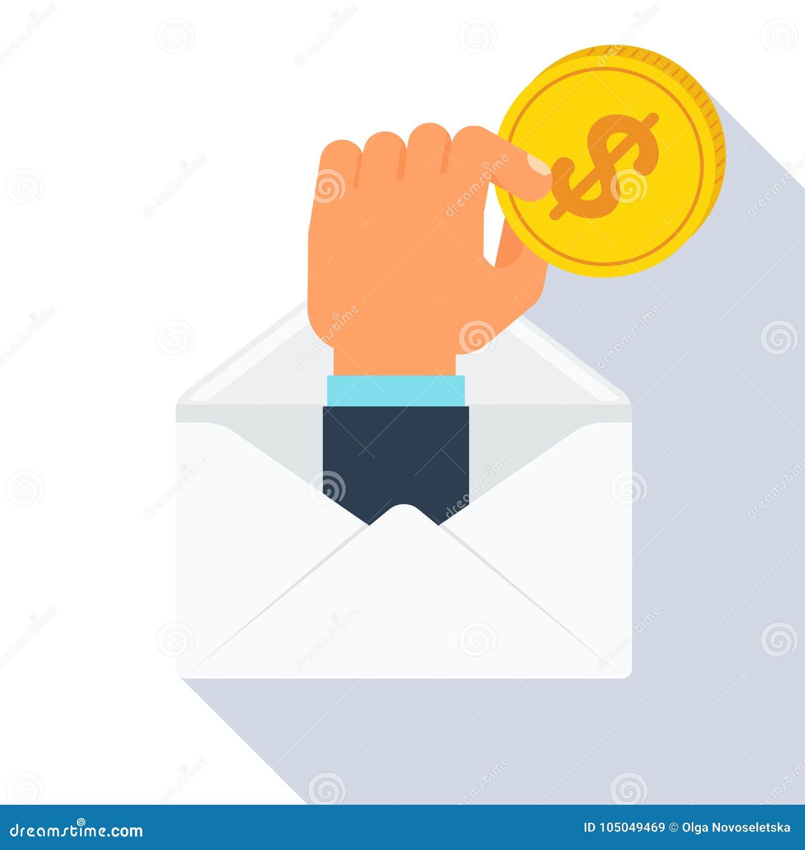 Mão do envelope com moeda