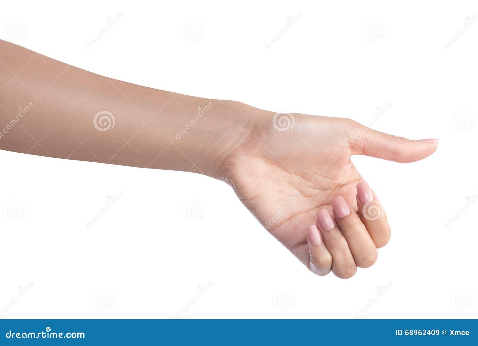 Mão do gesto da mulher que guarda o objeto