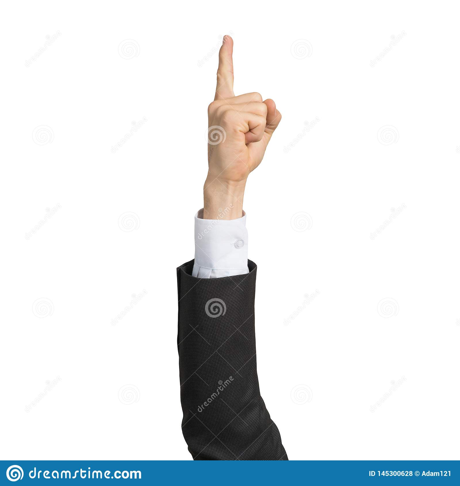M?o do homem de neg?cios em apontar do dedo da exibi??o do terno