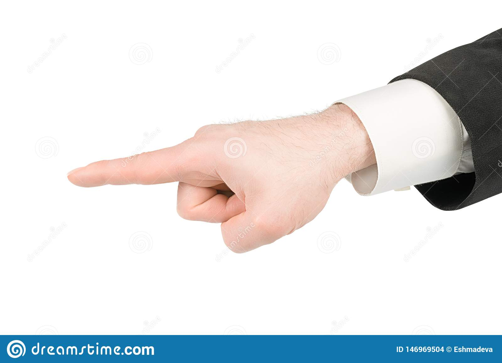 Mão do homem que faz apontar o gesto do dedo isolado com trajeto de grampeamento
