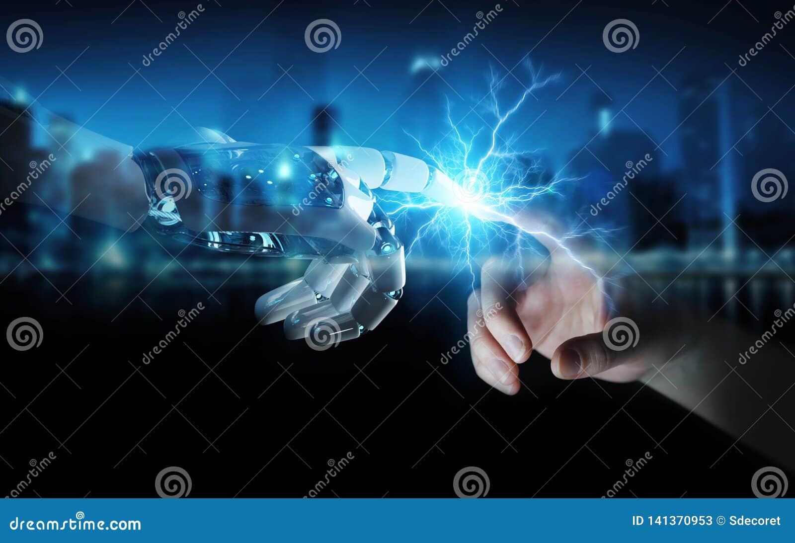 Mão do robô que cria a eletricidade com a rendição humana da mão 3D