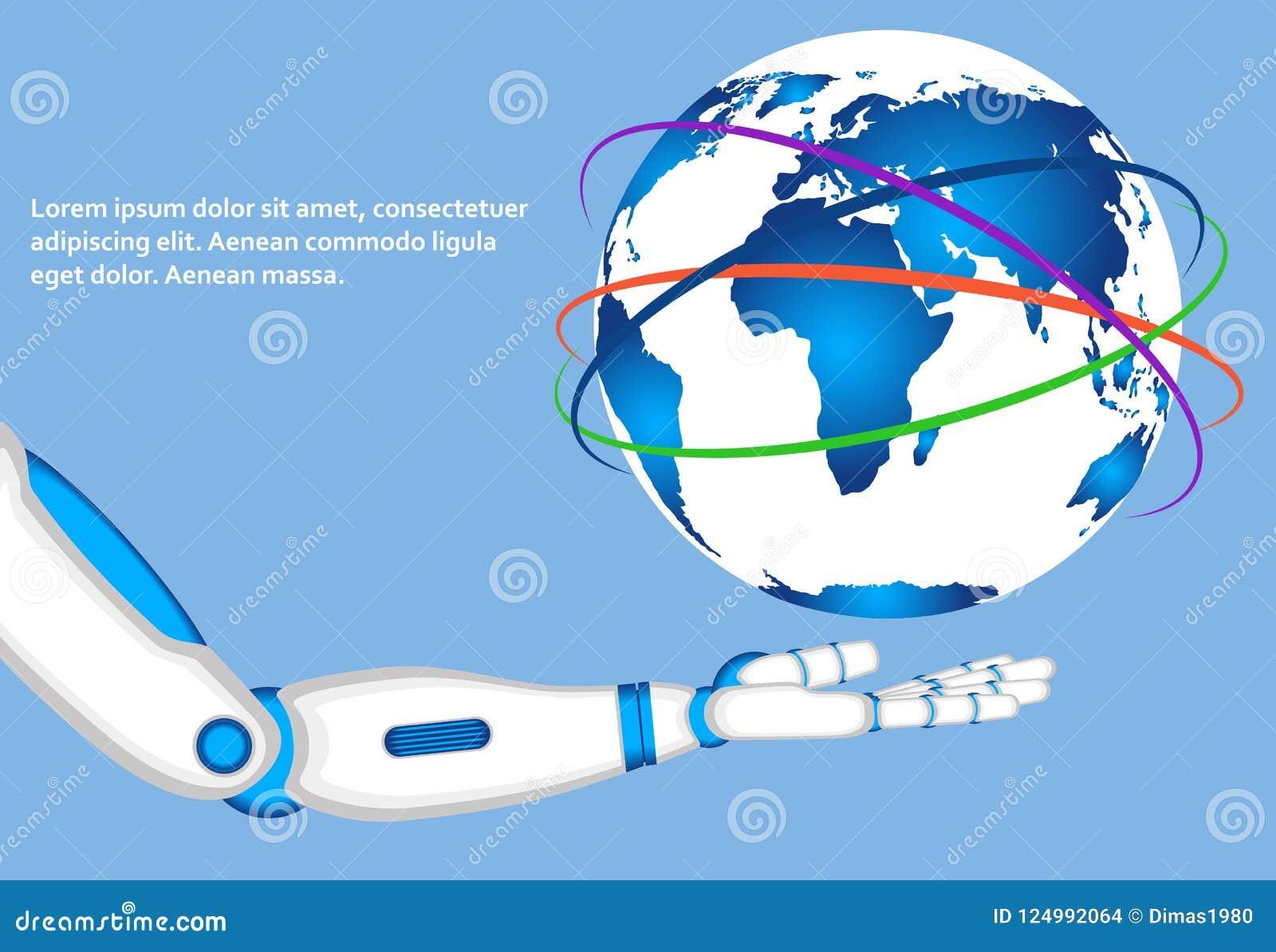 Mão do robô que guarda o globo do mundo