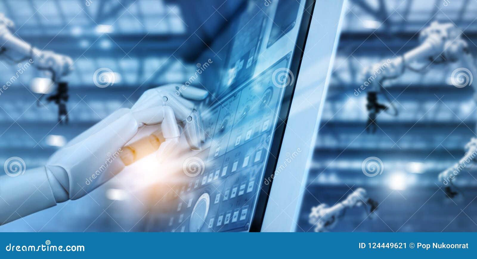 Mão do robô que trabalha no painel de controle na fábrica inteligente