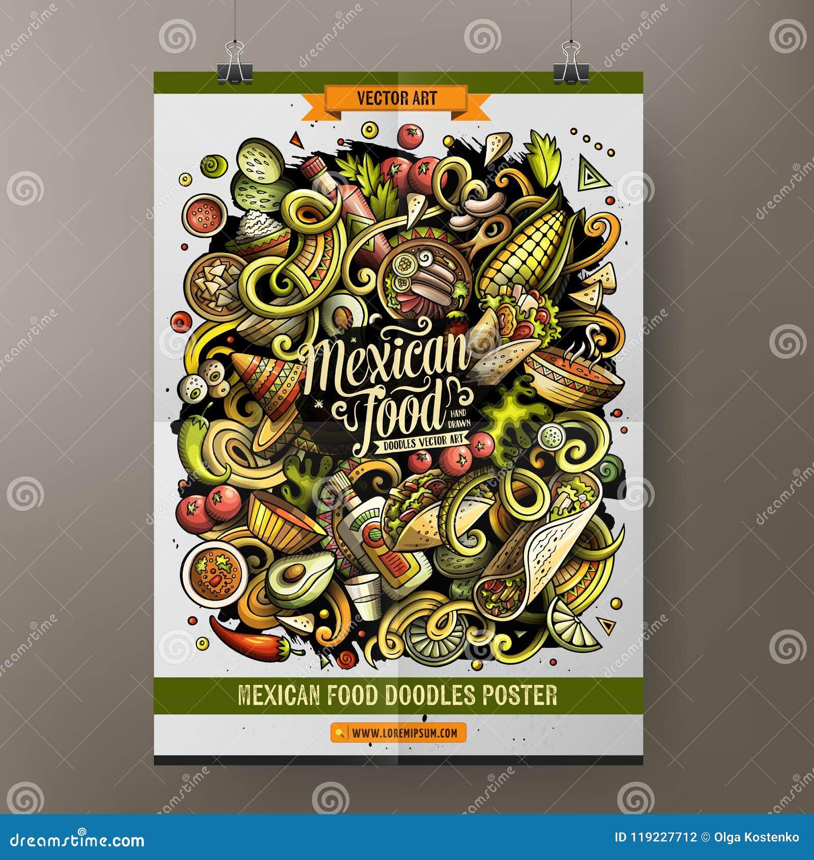 A mão dos desenhos animados tirada rabisca o projeto mexicano do cartaz do alimento