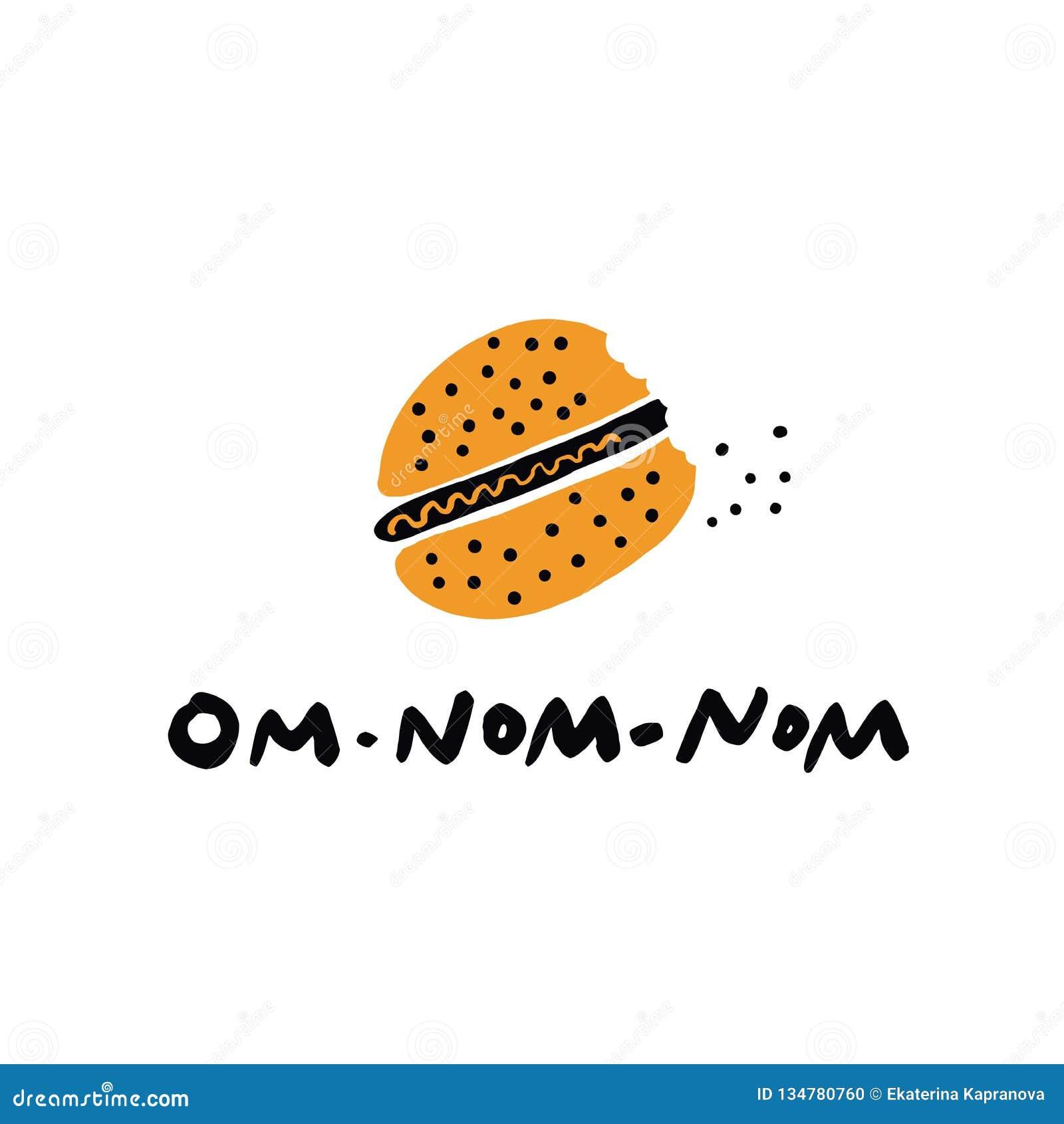 Mão engraçada ilustração tirada do hamburguer mordido e de rotular o nom do nom do OM da inscrição Vetor