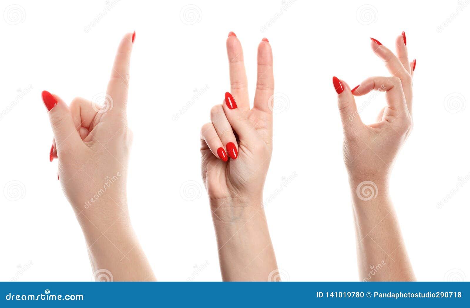 Mão fêmea isolada no fundo branco