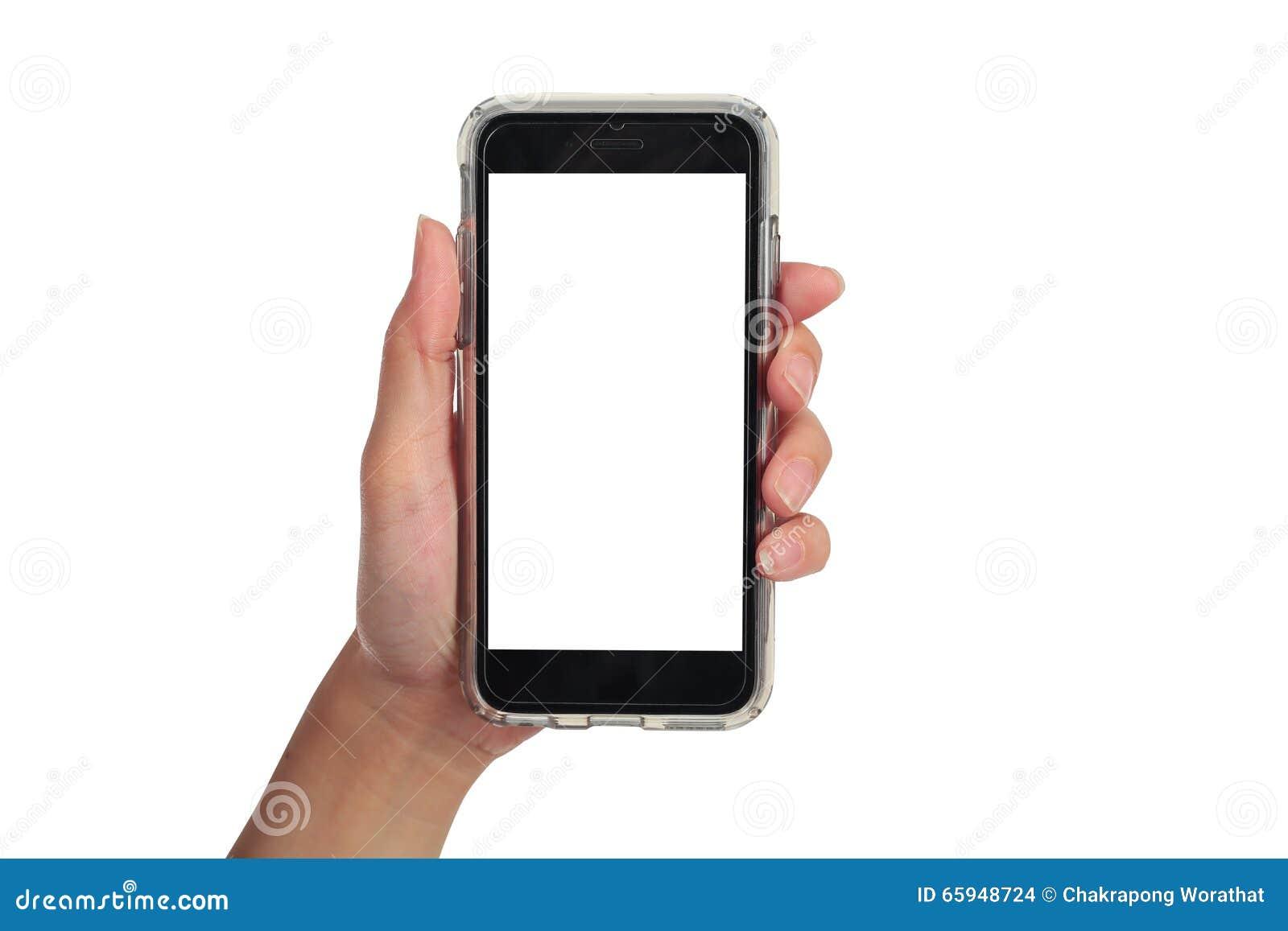 Mão fêmea que guarda o telefone esperto vertical, trajeto de grampeamento do uso