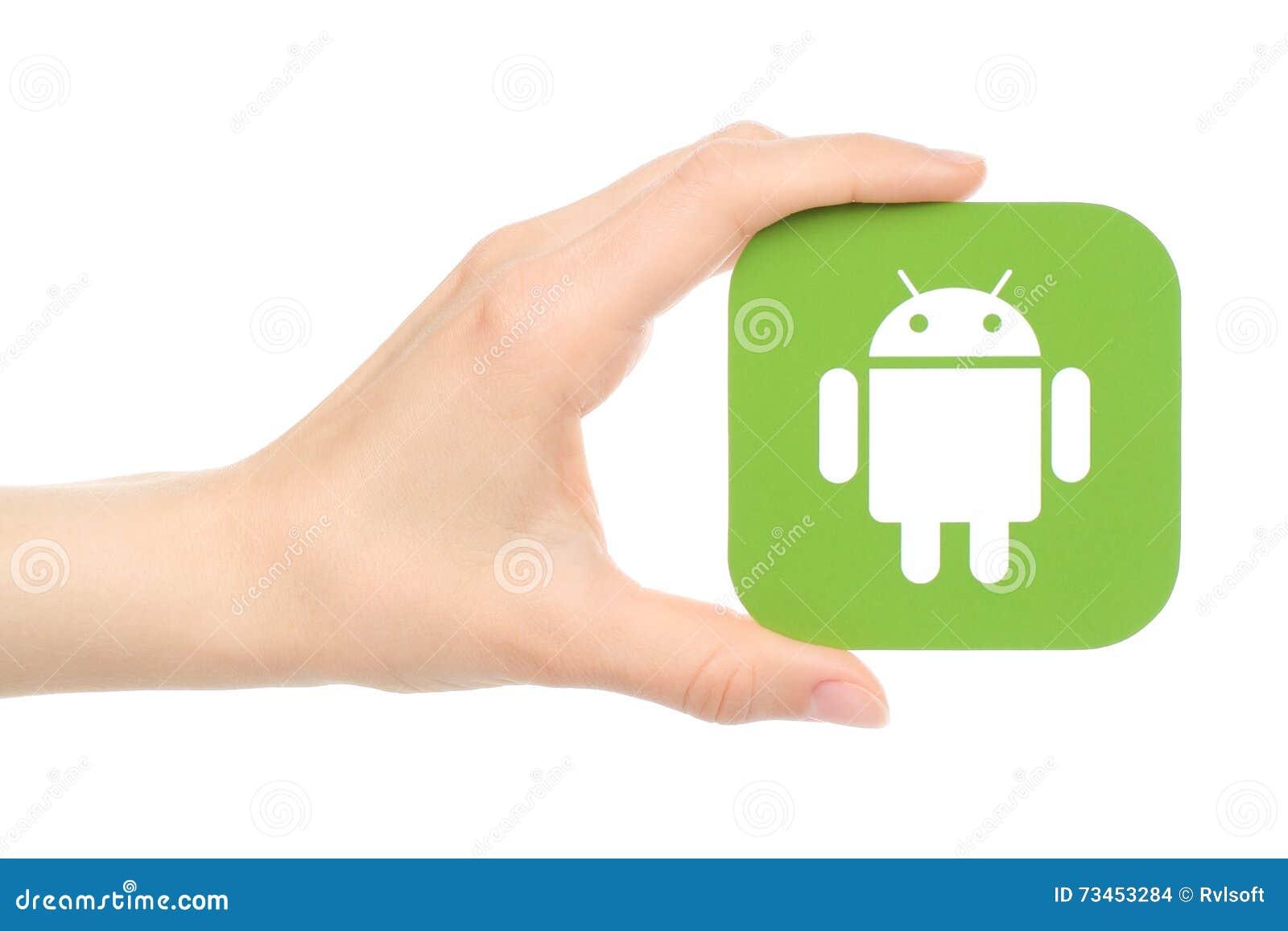 A mão guarda o logotipo de Android