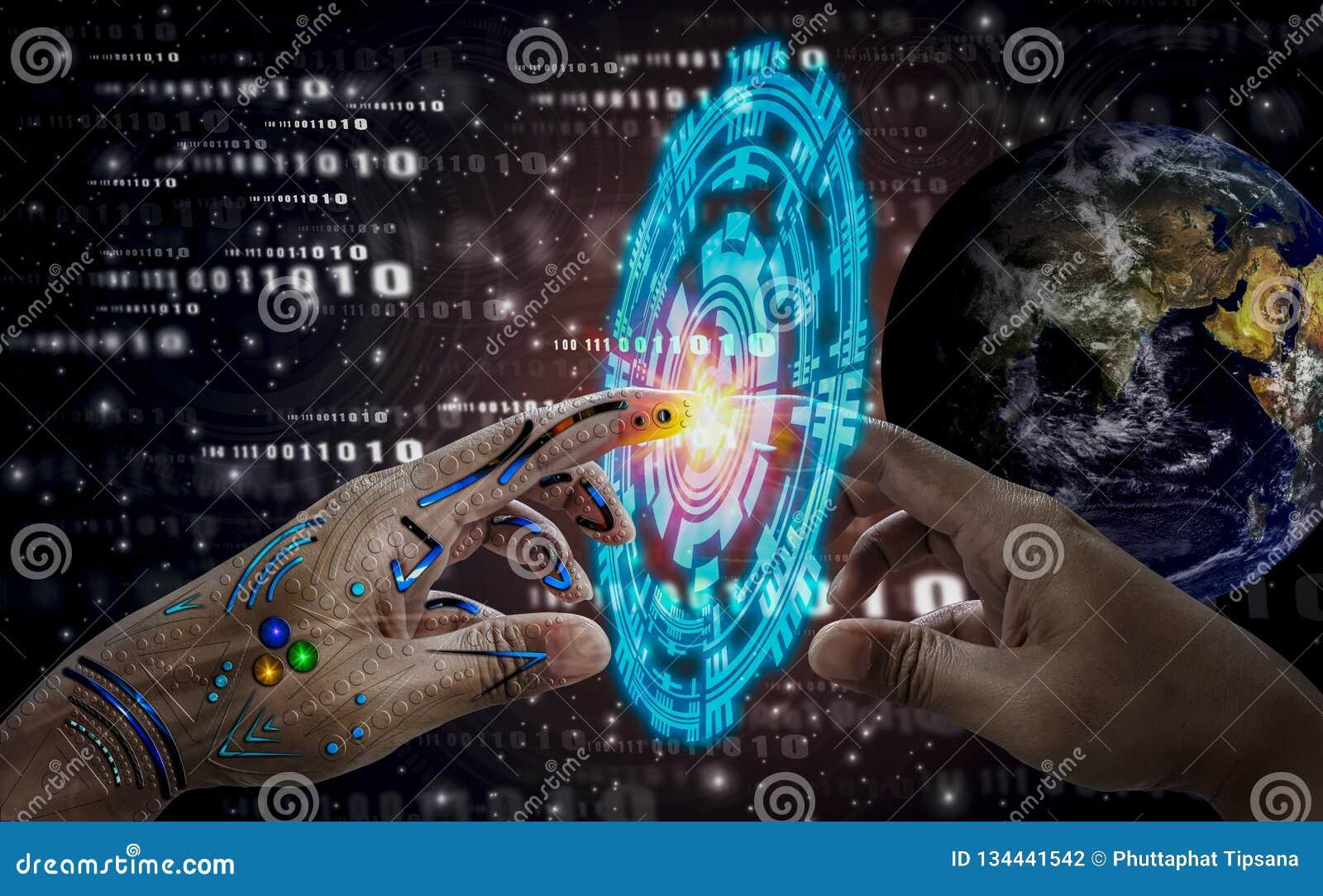 Mão humana do toque robótico da mão, ícones do espaço profundo do fundo e da tecnologia, espírito do mundo, avanço da ciência e m