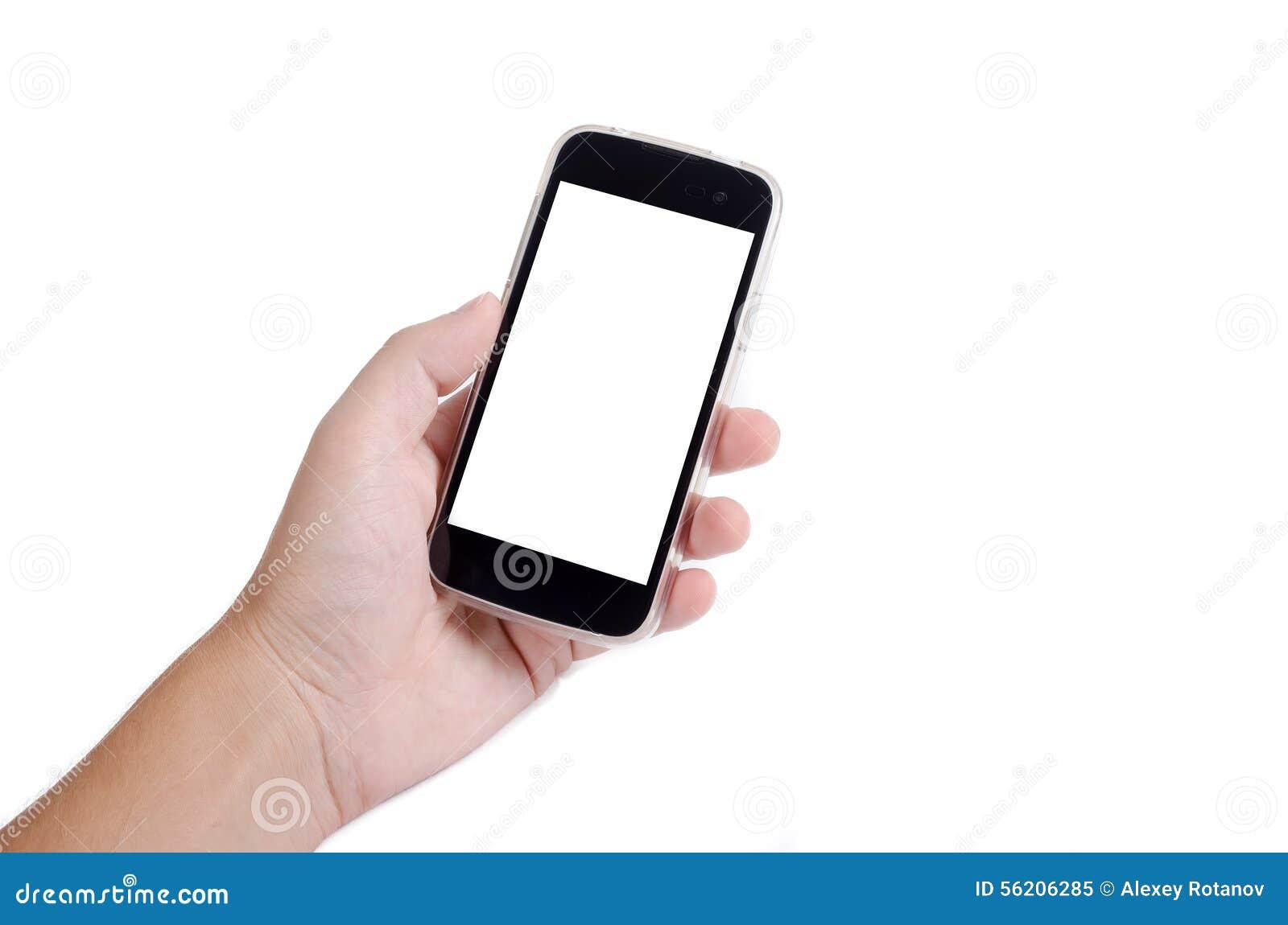 Mão humana que guarda o telefone esperto no fundo branco