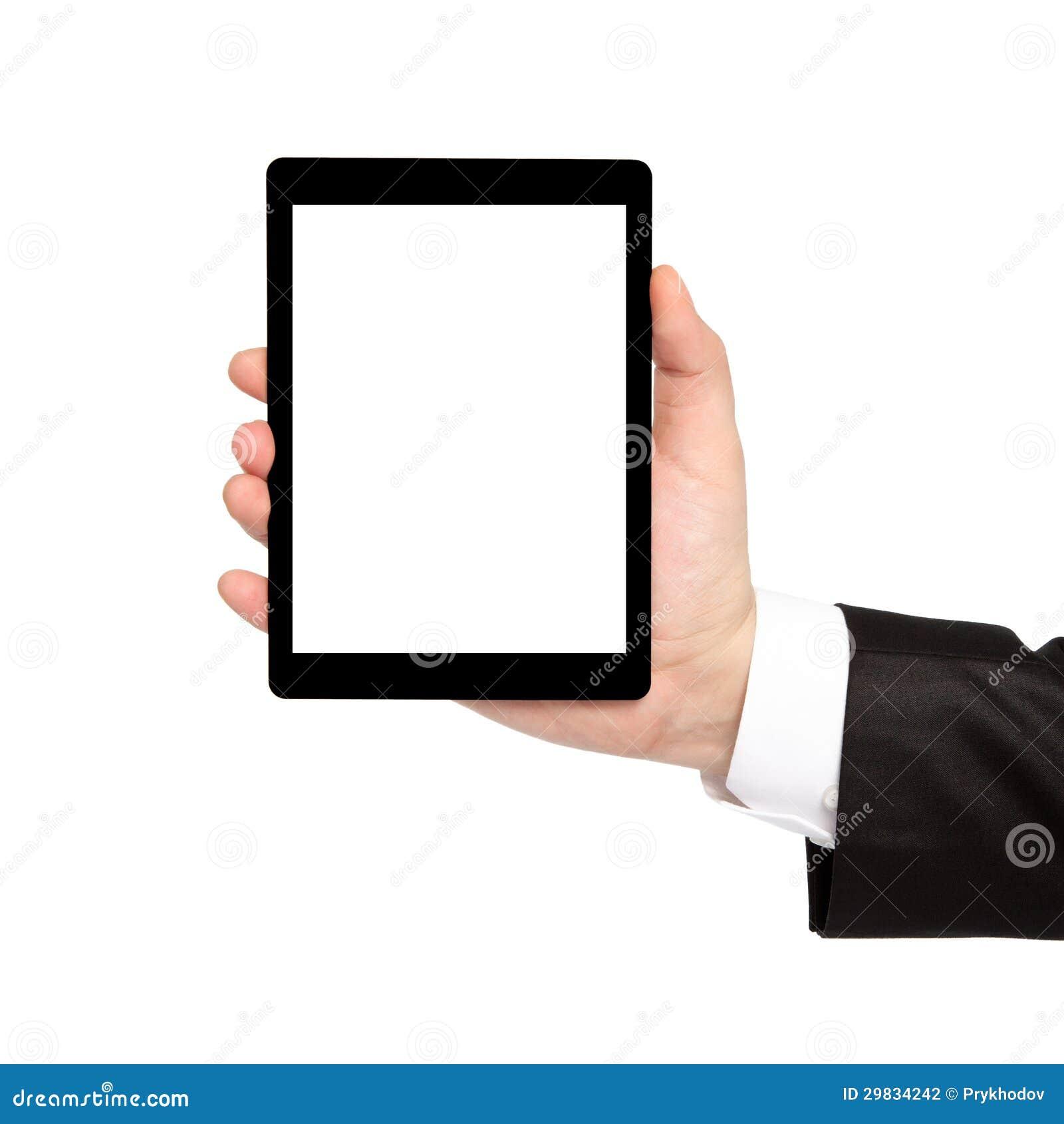 Mão isolada do homem de negócios que guardara uma tabuleta com tela isolada