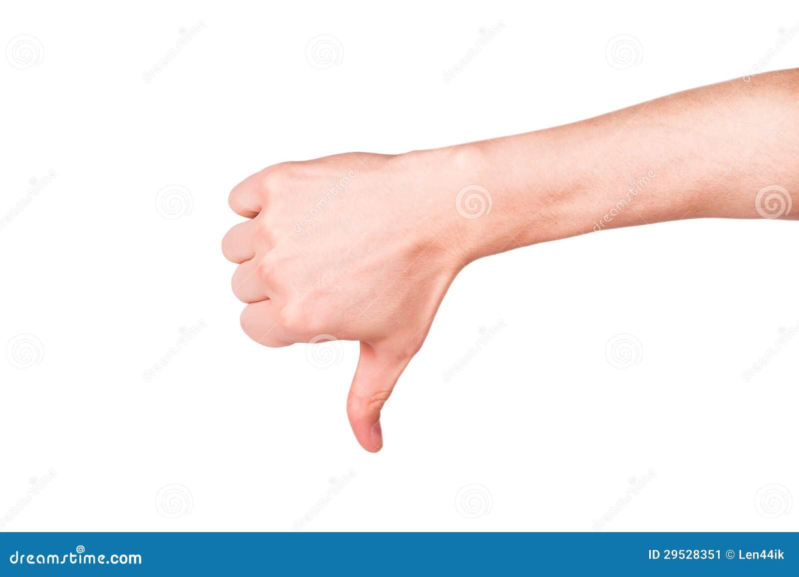 Mão masculina com um polegar para baixo. Atitude negativa, conceito da falha