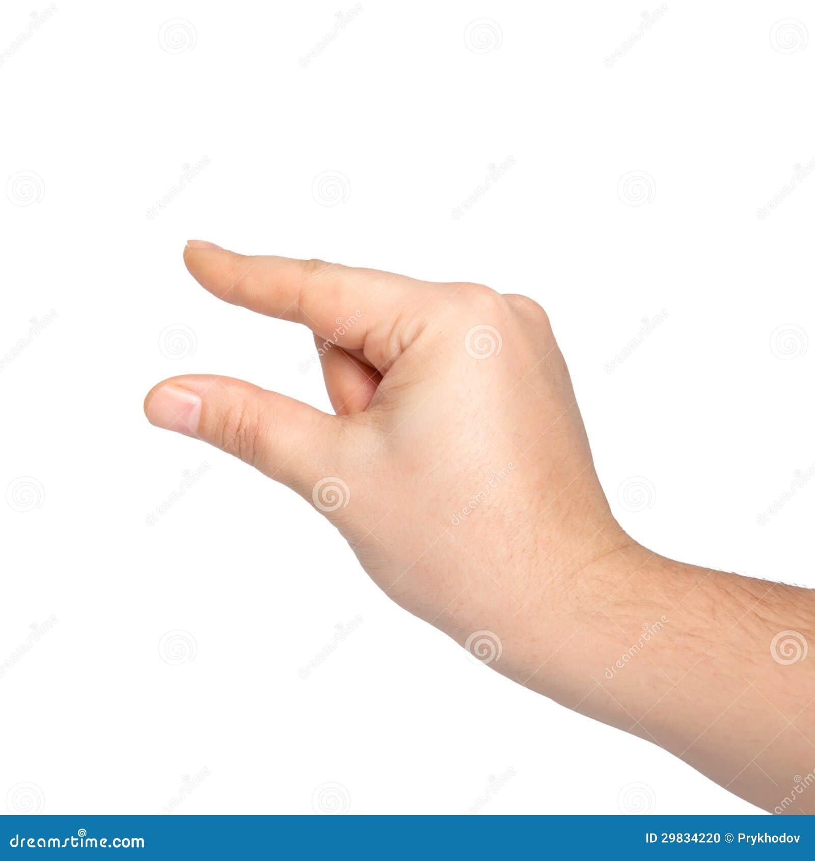 Mão masculina isolada que guardara um objeto