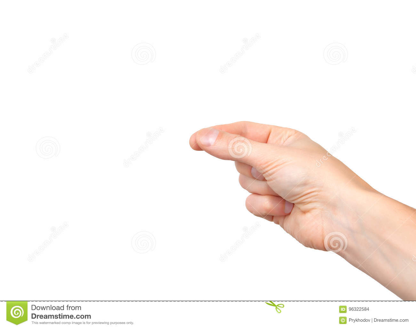 Mão masculina no fundo isolado