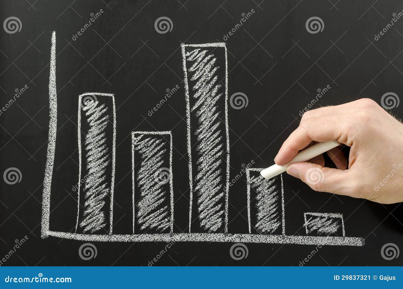 Mão masculina que esboça o gráfico de negócio