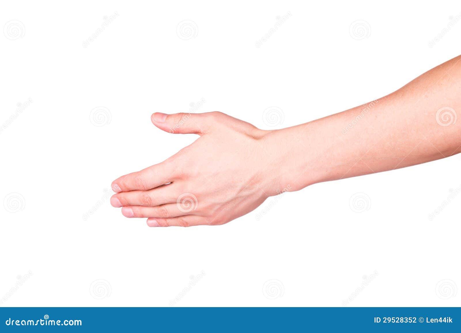 Mão masculina que estica para o aperto de mão