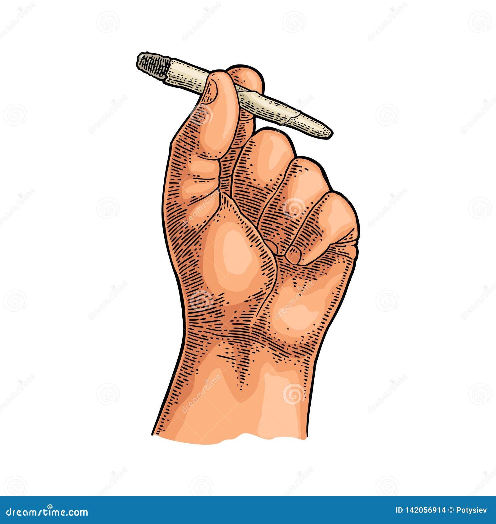 Mão masculina que guarda cigarros ardentes com marijuana Vintage da gravura