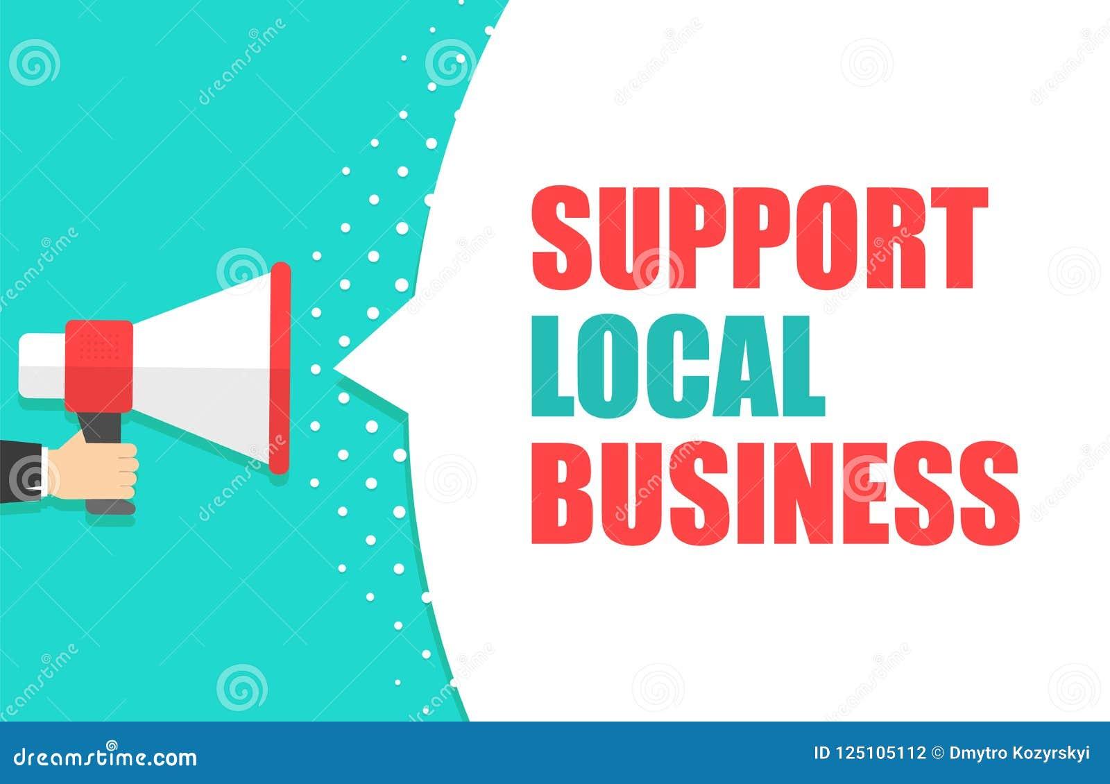 Mão masculina que guarda o megafone com bolha local do discurso do negócio do apoio loudspeaker Bandeira para o negócio, mercado