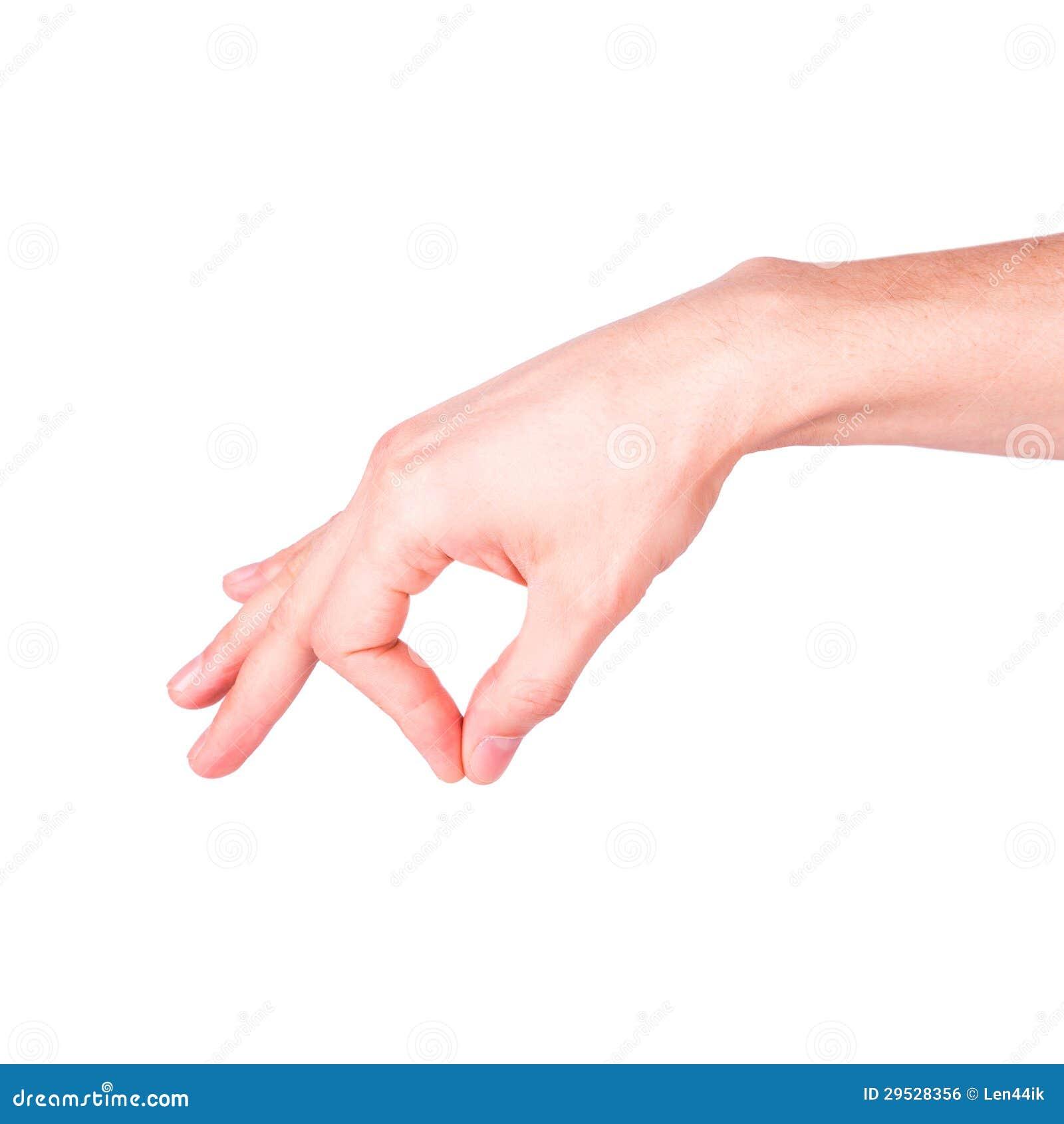 Mão masculina que guardara algo
