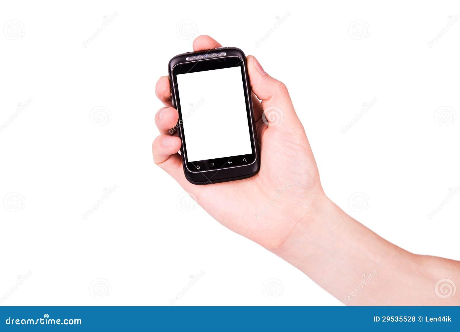 Mão masculina que guardara um telefone móvel com espaço para você texto