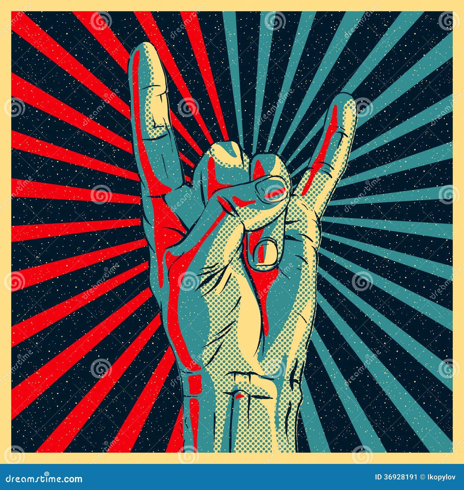 Mão no sinal do rolo da rocha n
