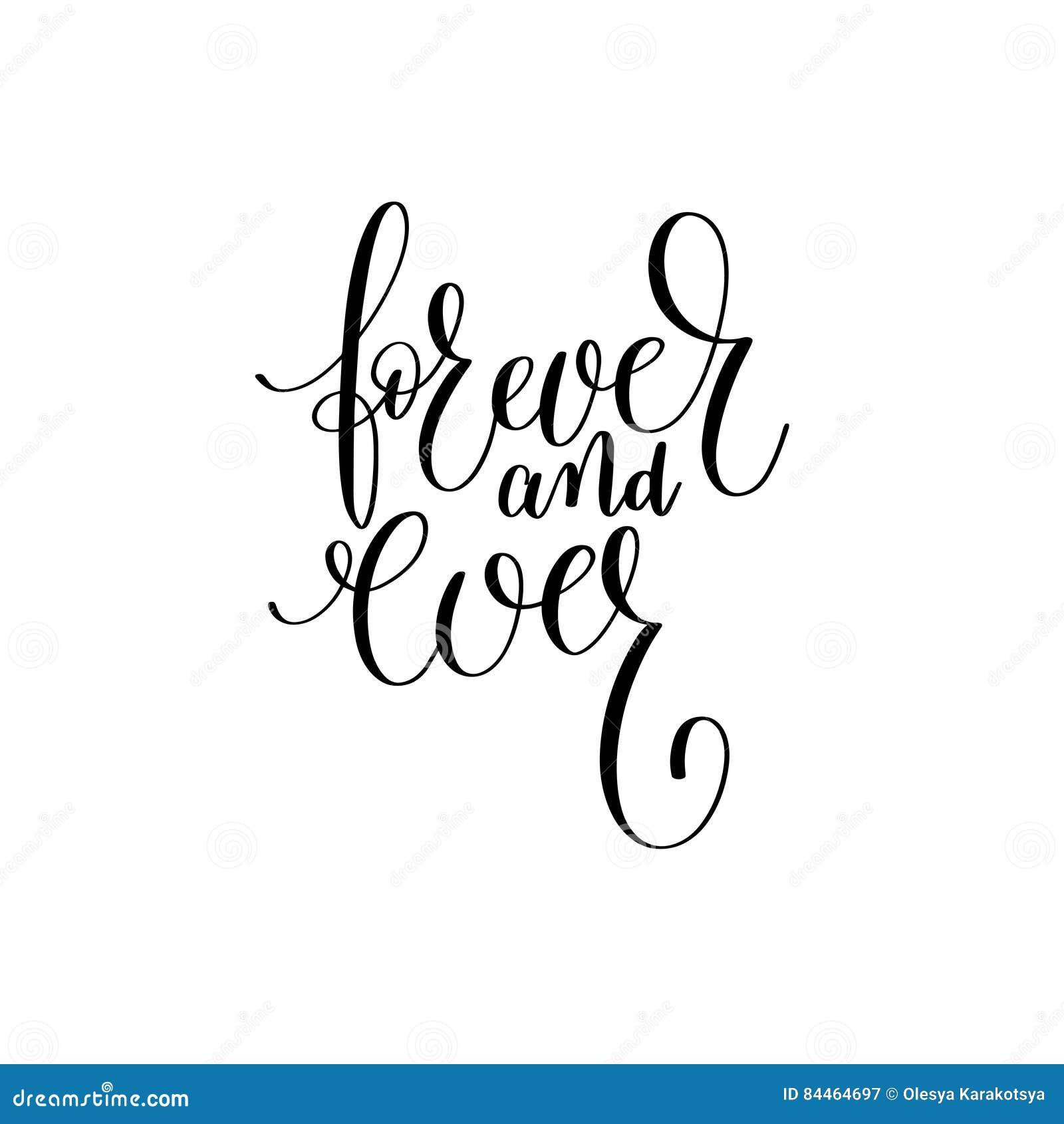 Mão Para Sempre Preto E Branco Escrita Rotulando A Frase Ilustração