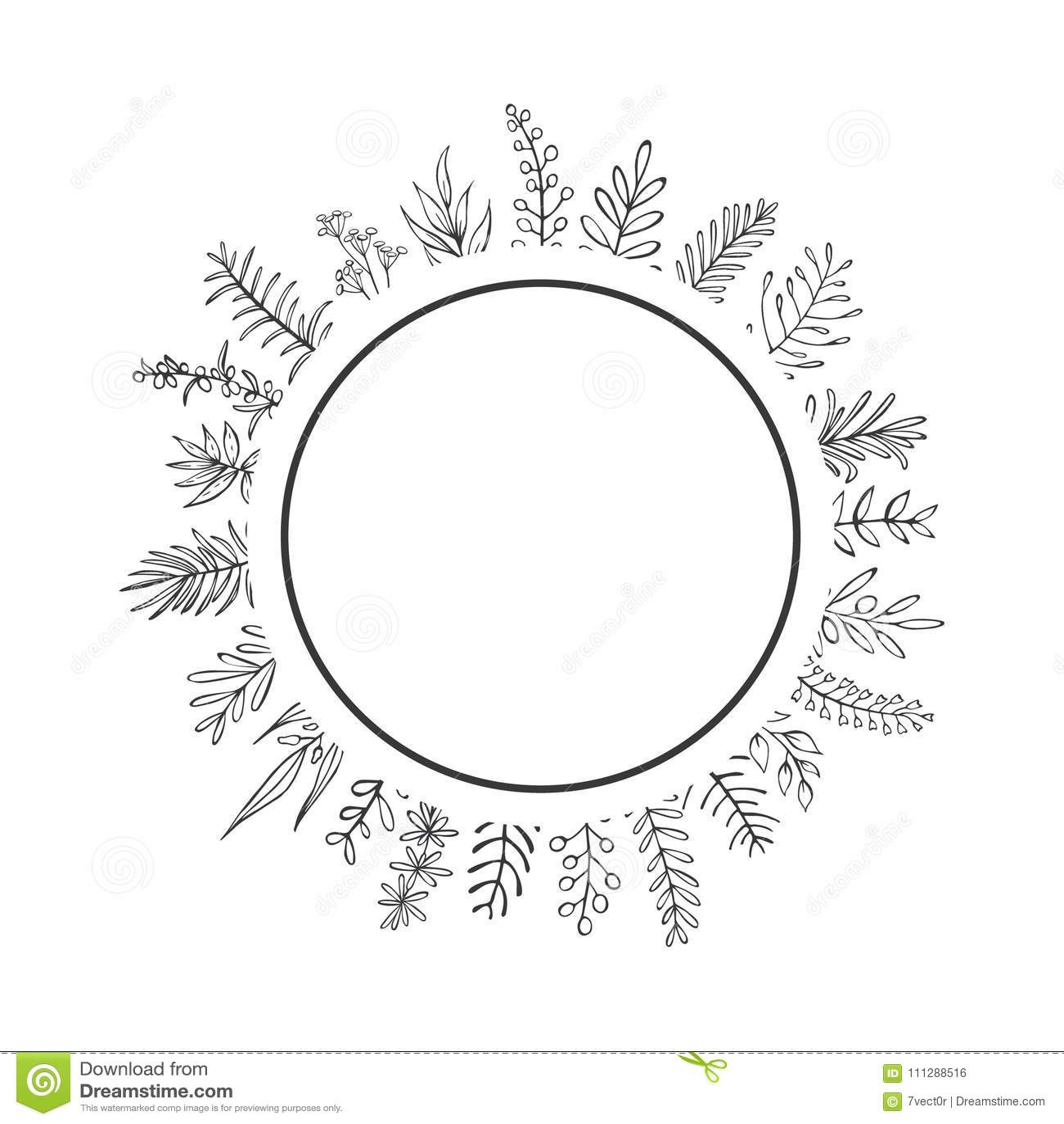 A mão preto e branco do estilo da casa da quinta tirada esboçou ramos e os galhos circundam em volta do quadro