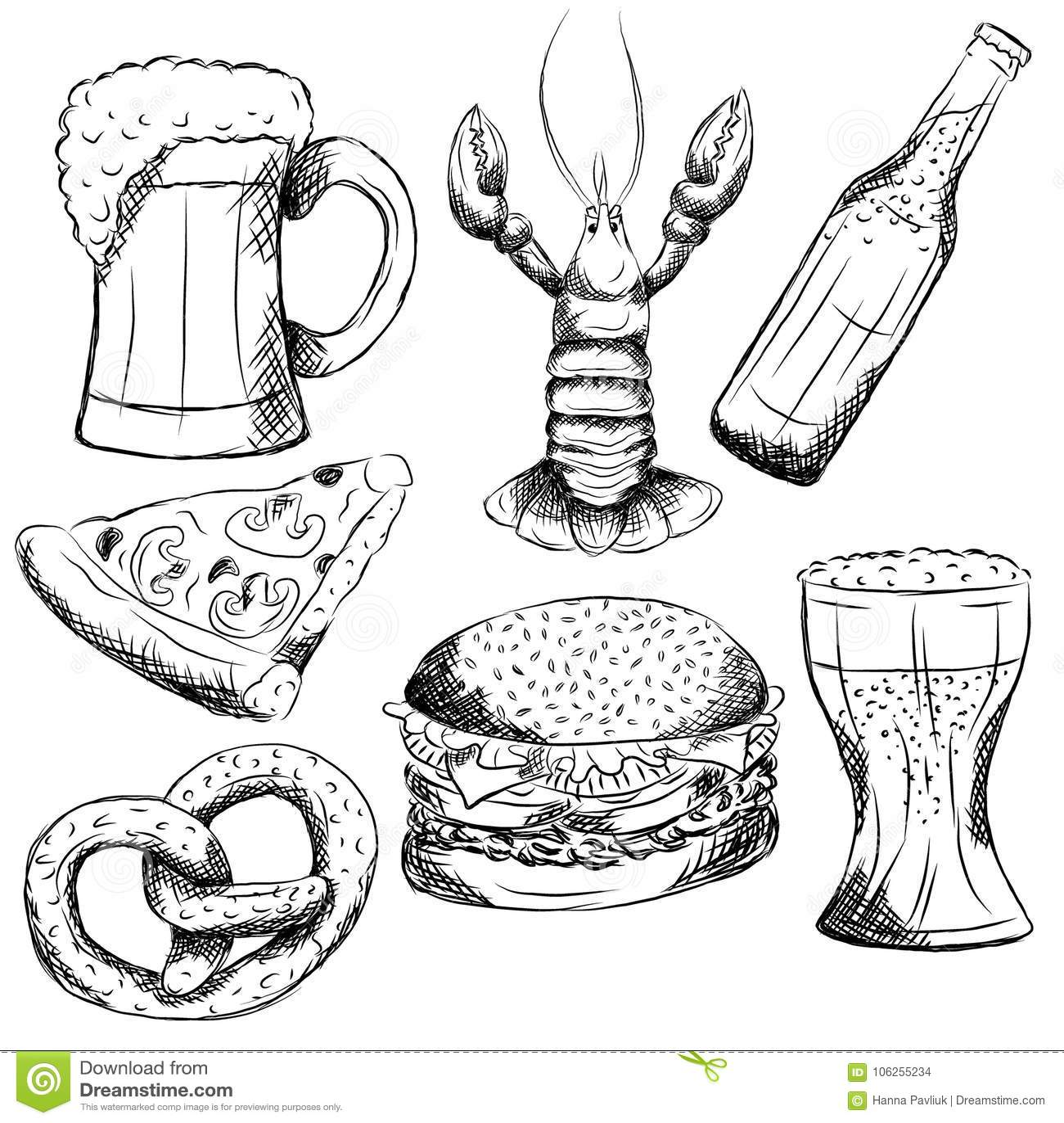 Mão Preto E Branco Elementos Tirados Do Bar Ilustração Do