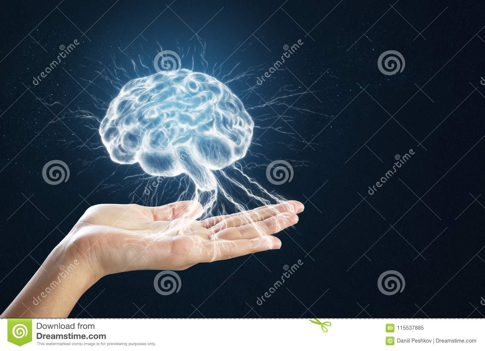 Mão que guarda o cérebro digital