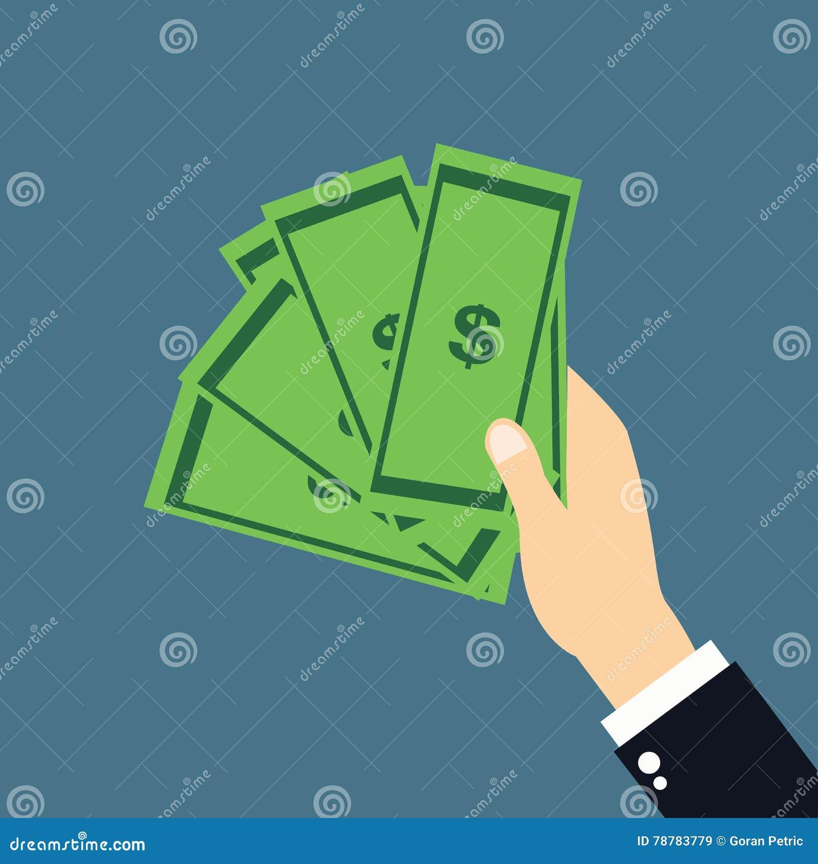 Mão que guarda o vetor e o ícone do dinheiro