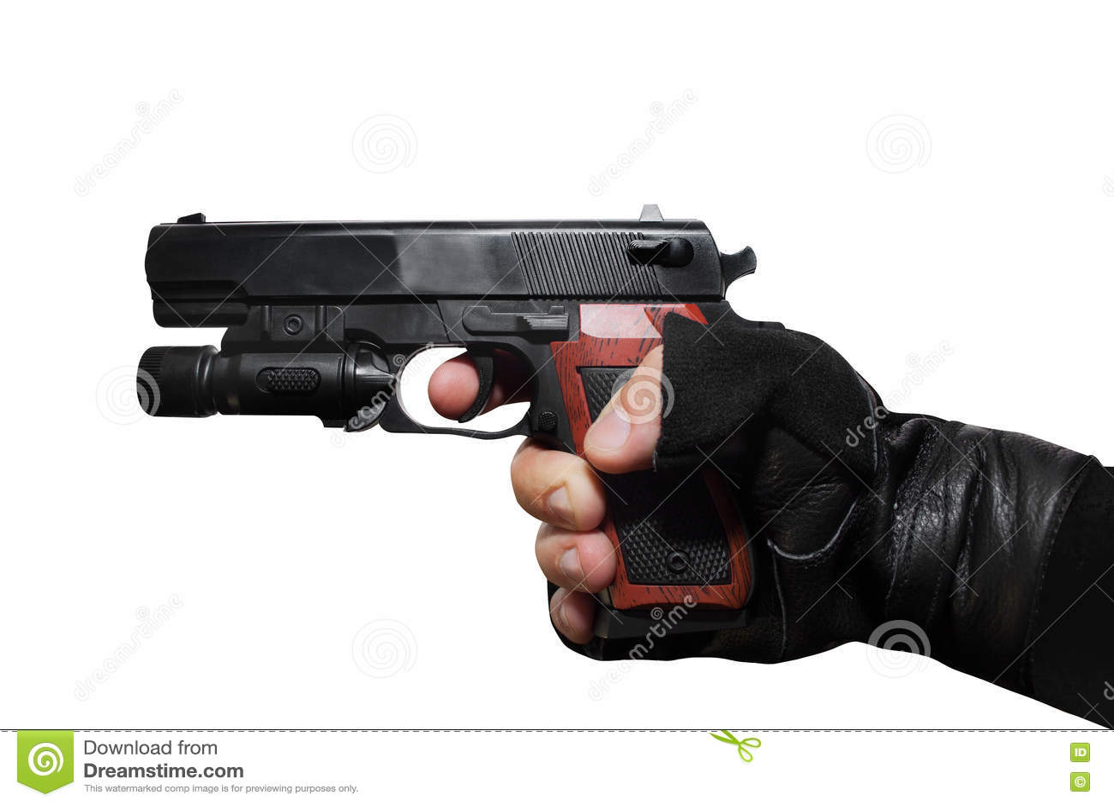 Mão que guarda um perfil do revólver