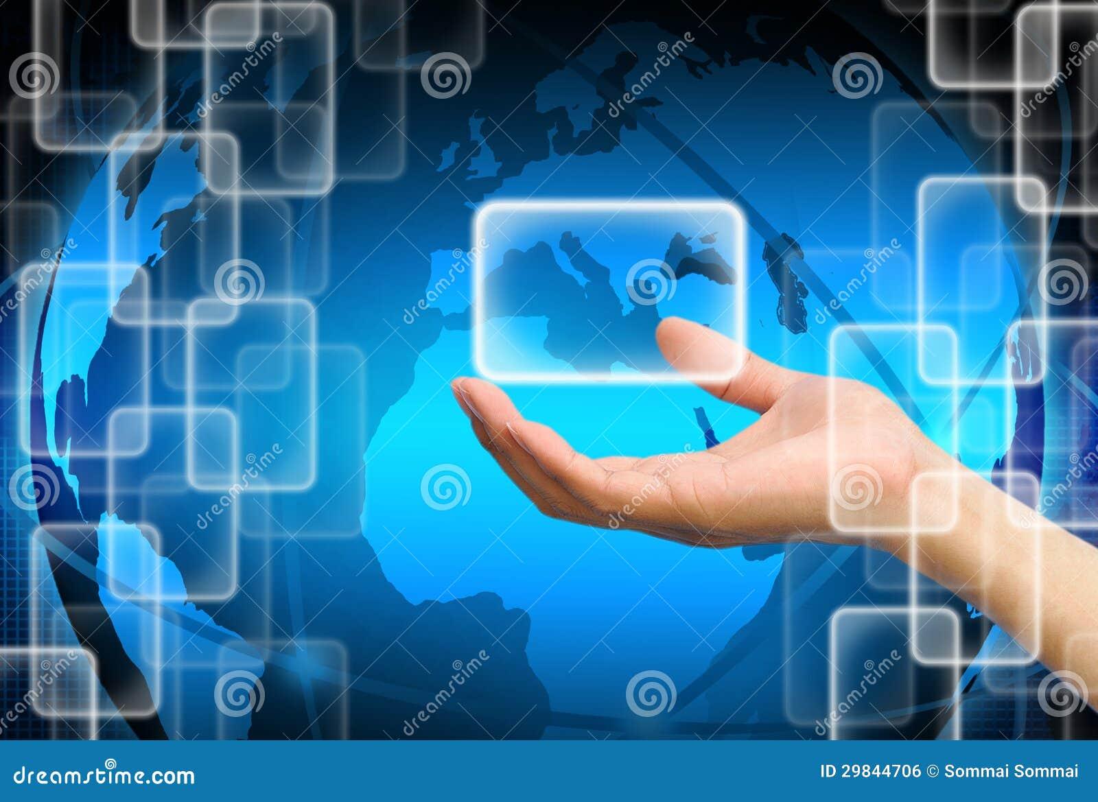 Mão que guardara sobre a tecnologia