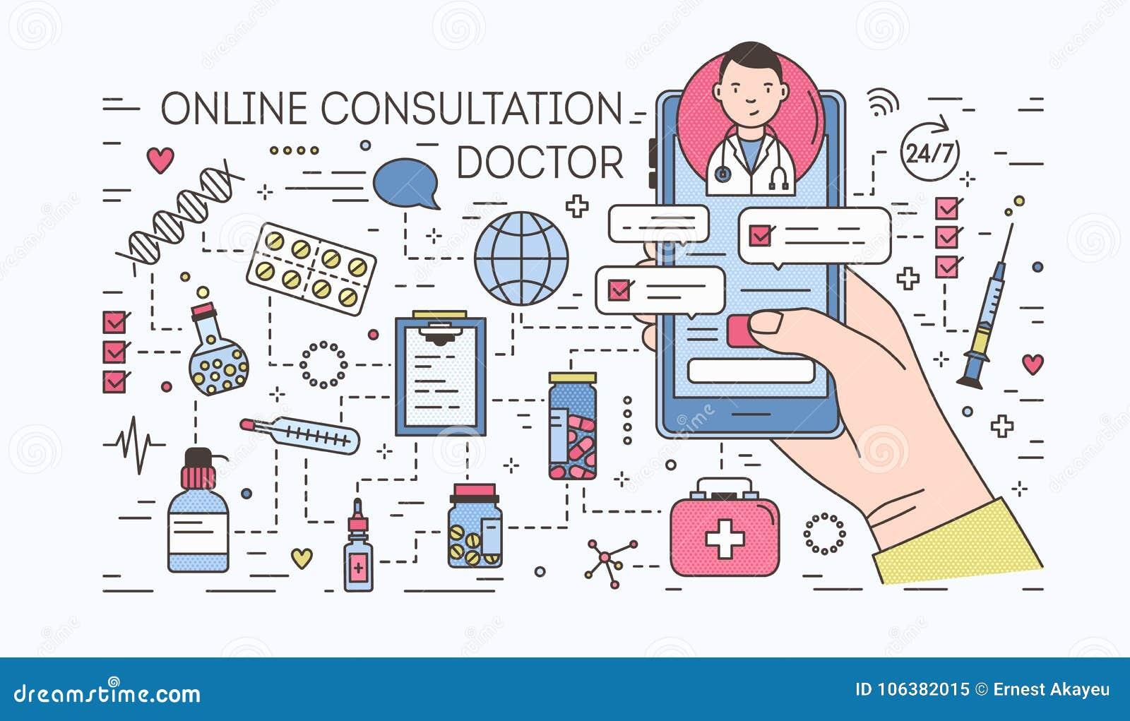 Mão que mantém o smartphone com bate-papo do Internet com o doutor na tela contra comprimidos e medicinas no fundo médico