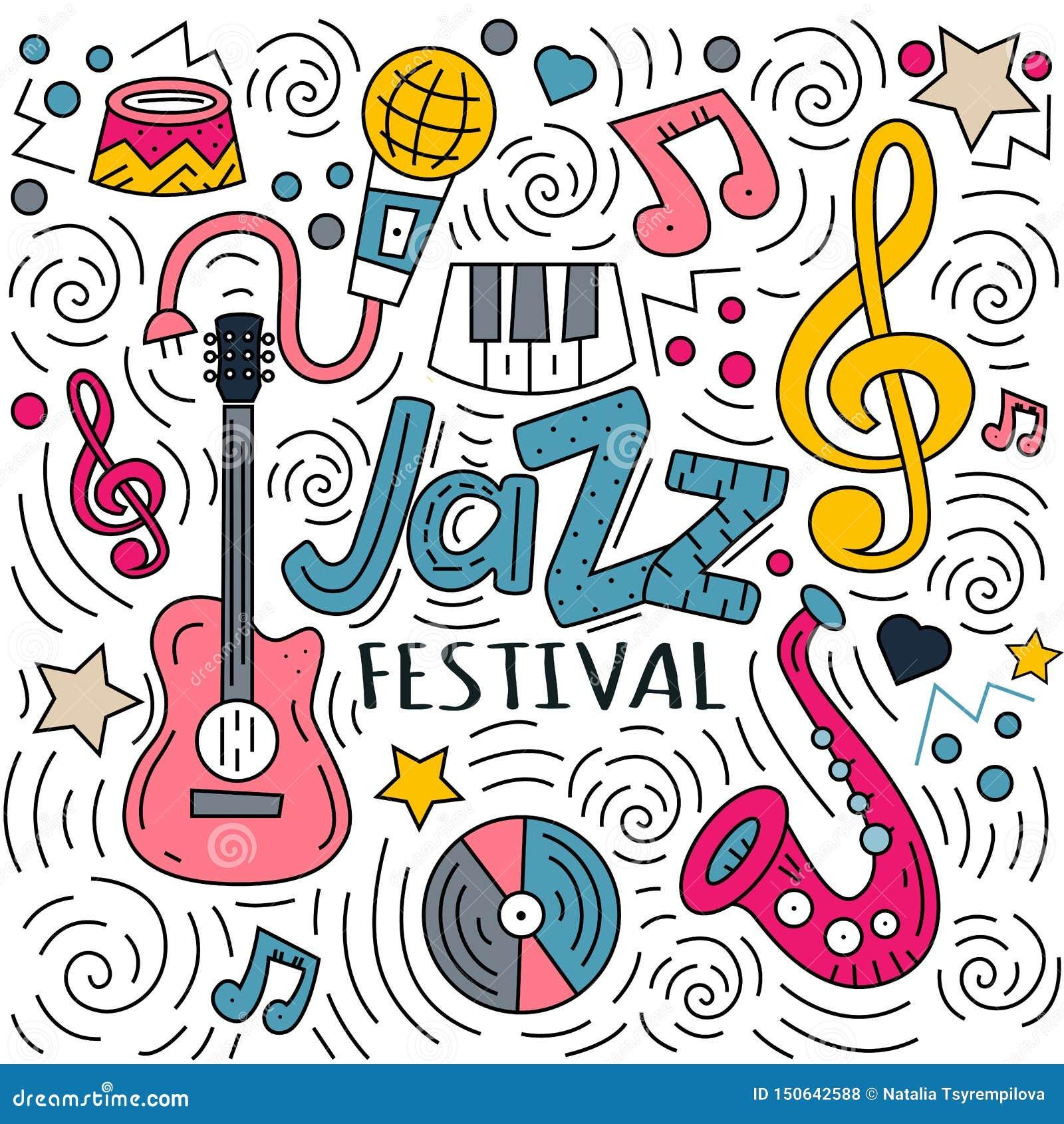 Mão tirada rotulando o festival e as garatujas de jazz