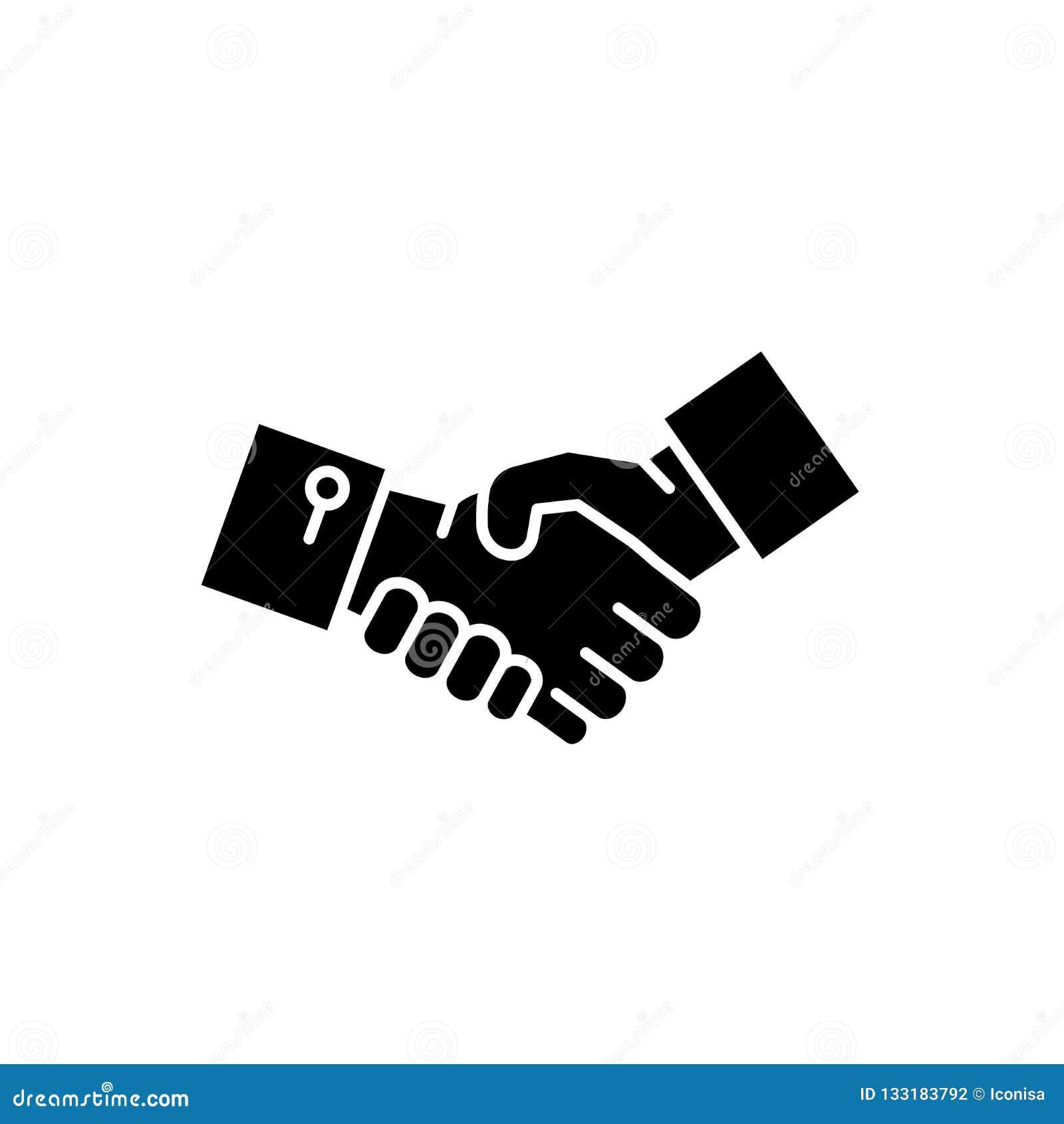 Mãos ícone preto da agitação, sinal do vetor no fundo isolado Símbolo do conceito das mãos da agitação, ilustração