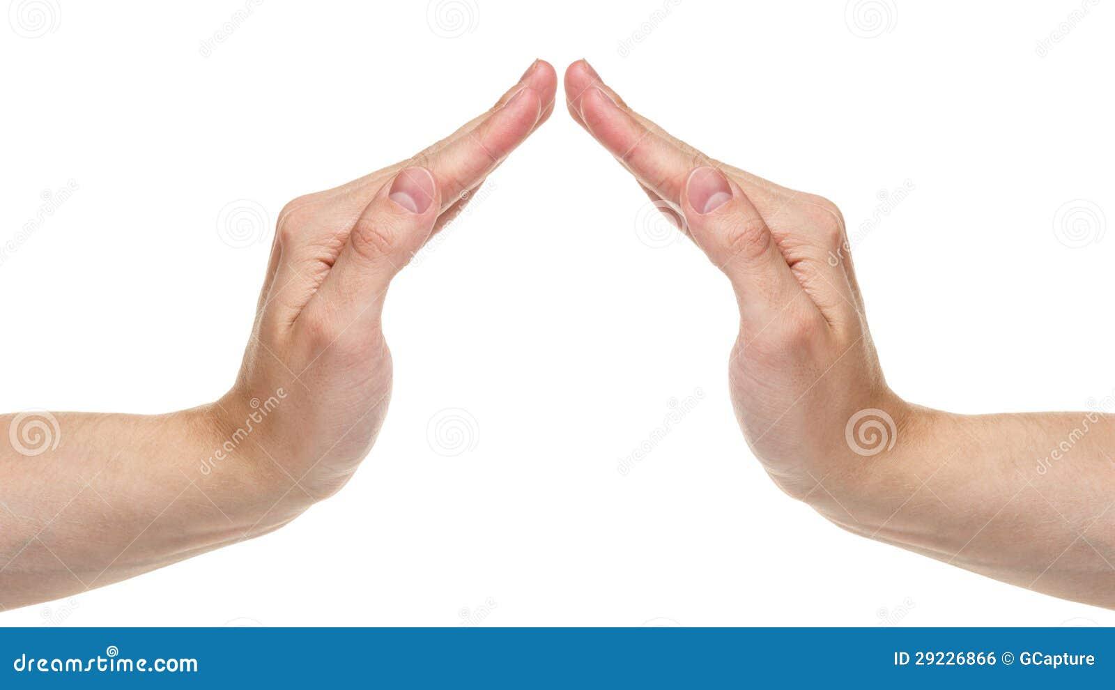 Download Mãos Adultas Do Homem Que Mostram O Símbolo Da Casa Foto de Stock - Imagem de dedo, propriedade: 29226866