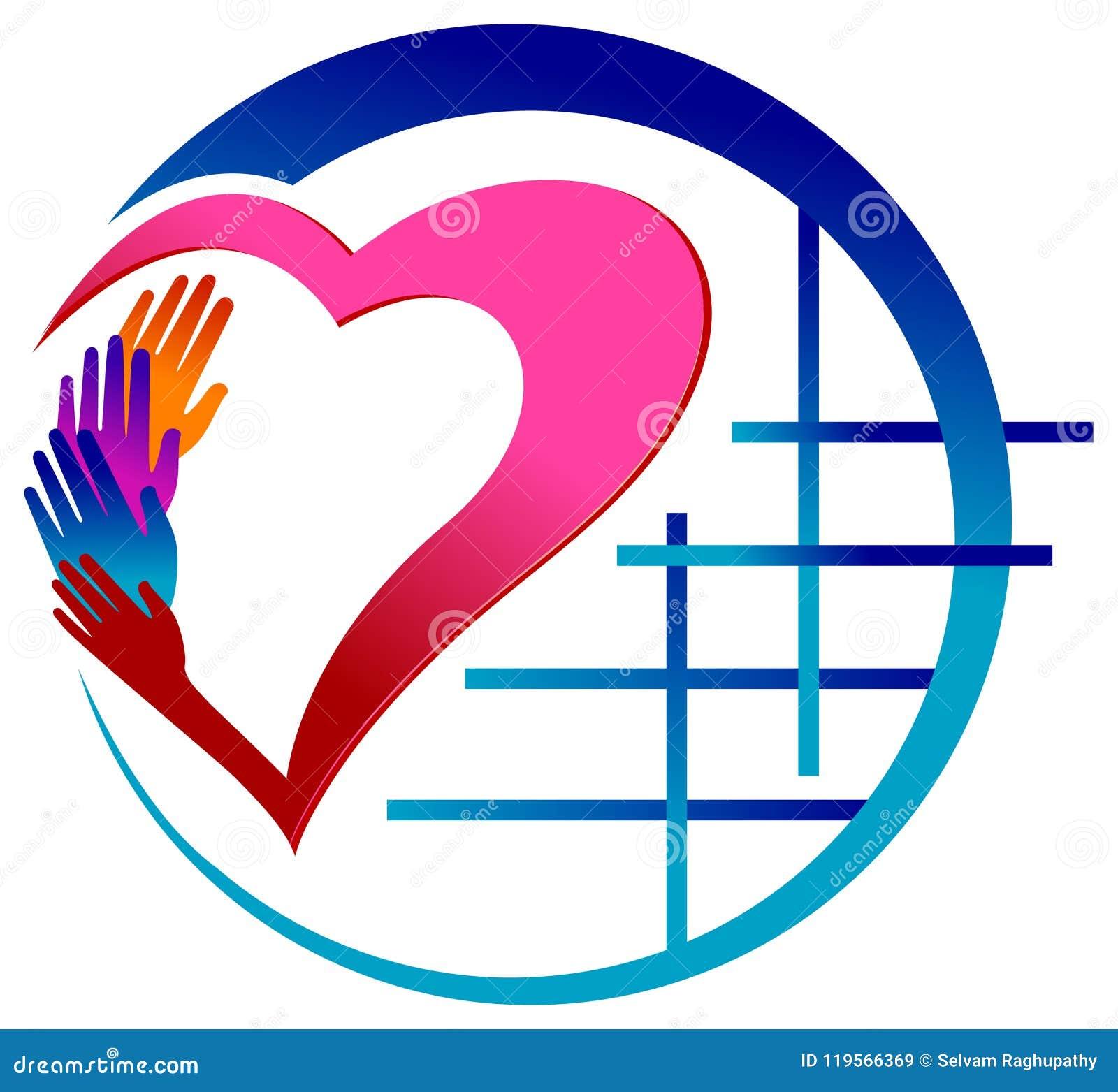 Mãos coloridas com imagem do vetor do coração