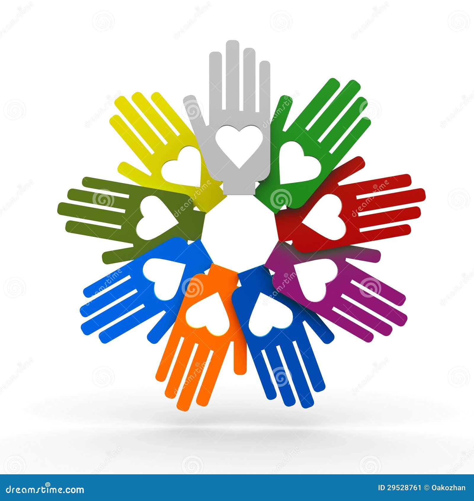 Mãos com amor no círculo