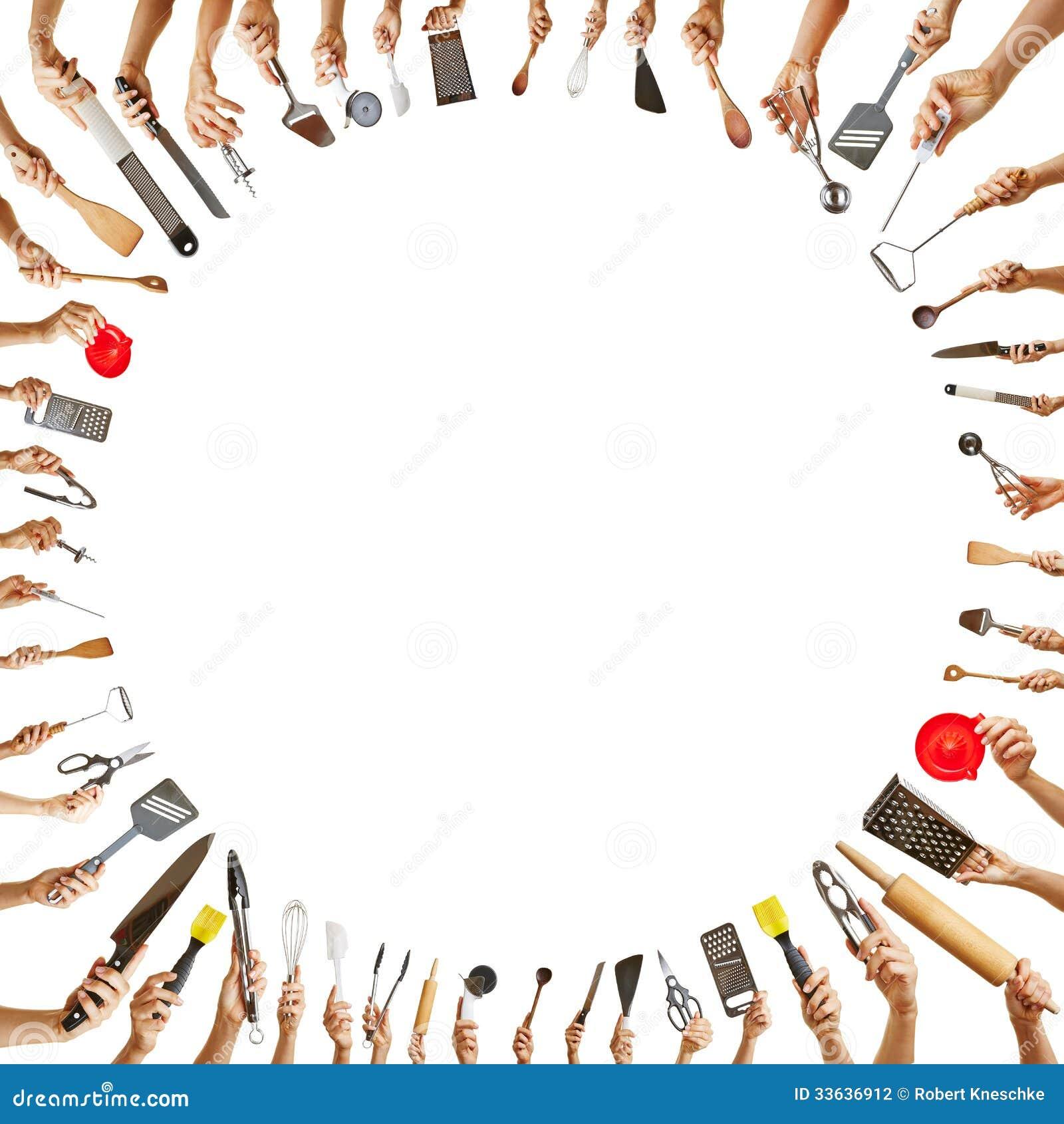 #BD0E0F Fotografia de Stock: Mãos com as ferramentas diferentes da cozinha em  1300x1390 px Ferramenta De Design De Cozinha On Line_794 Imagens