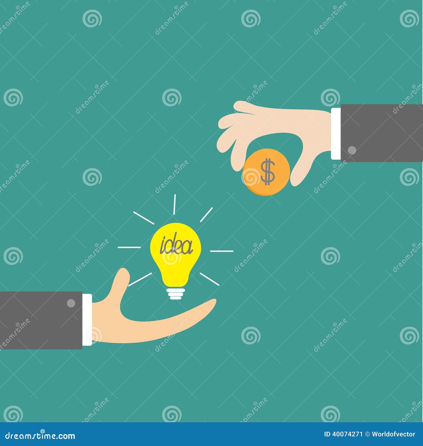 Mãos com bulbo da ideia e moeda do dinheiro. Trocando o conceito. De liso