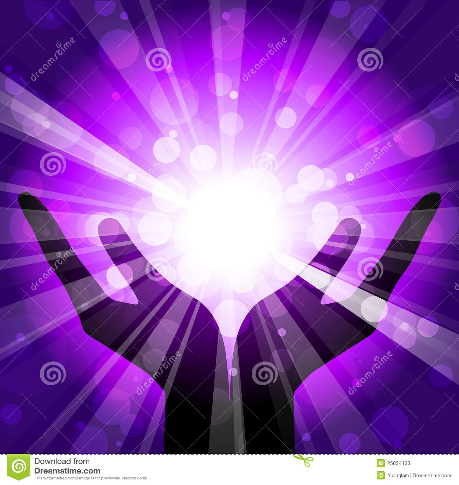 Mãos Com Luz Fotos de Stock - Imagem: 25034133