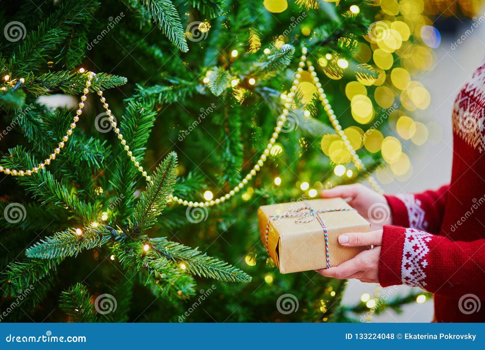 Mãos da mulher que guardam o presente de Natal