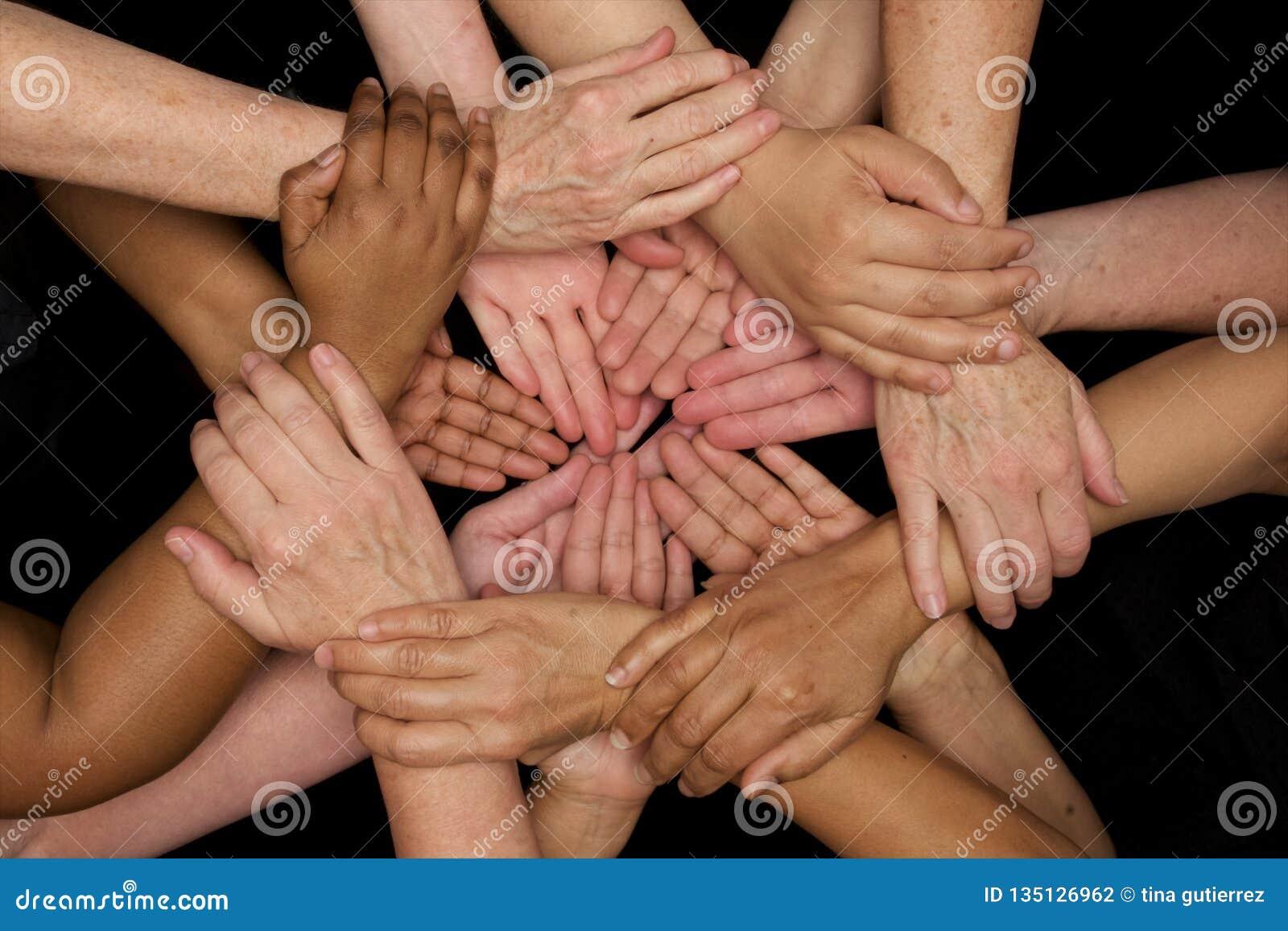 Mãos das mulheres da diversidade que trabalham cooperativamente as mãos nos corações