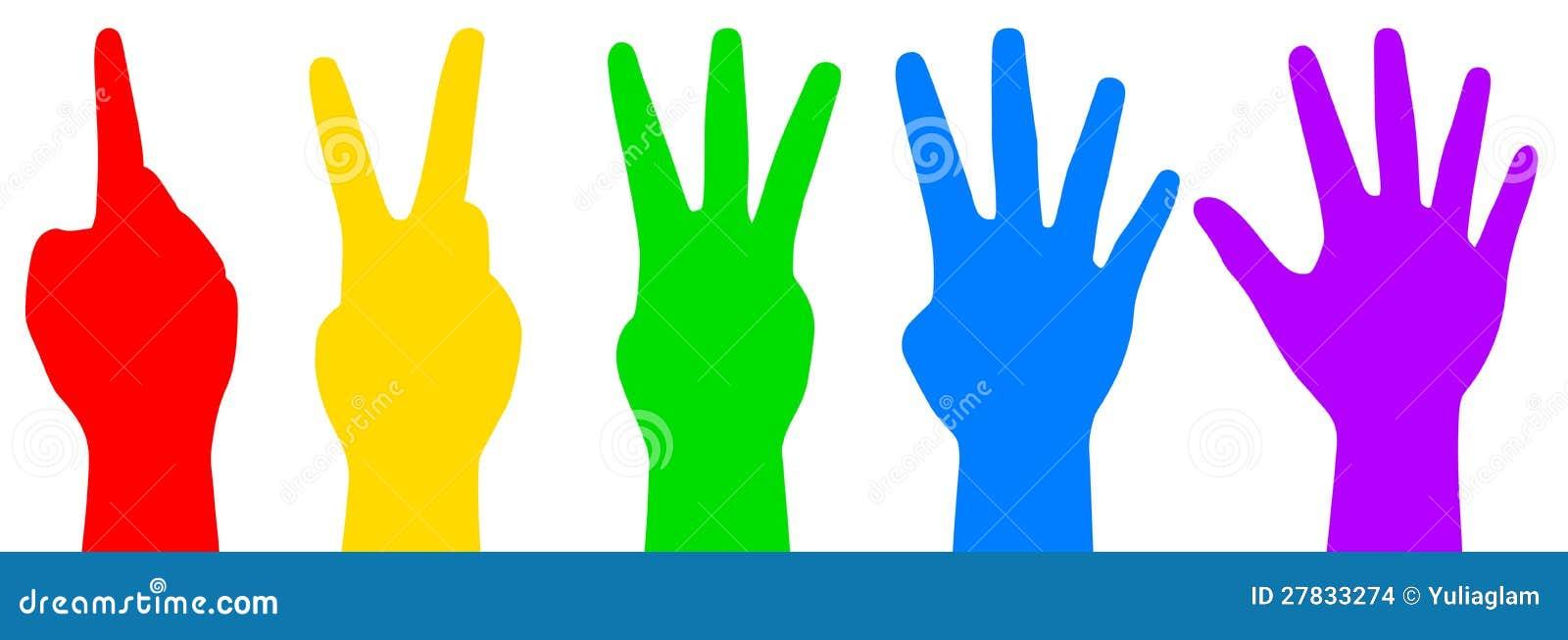 Maos De Contagem Coloridas Ilustracao Do Vetor Ilustracao De