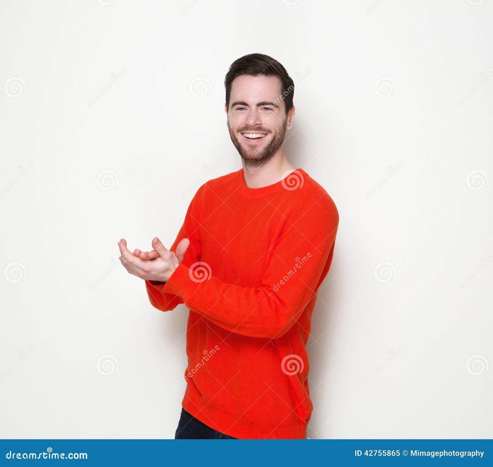 Mãos de sorriso e de aplauso do homem novo