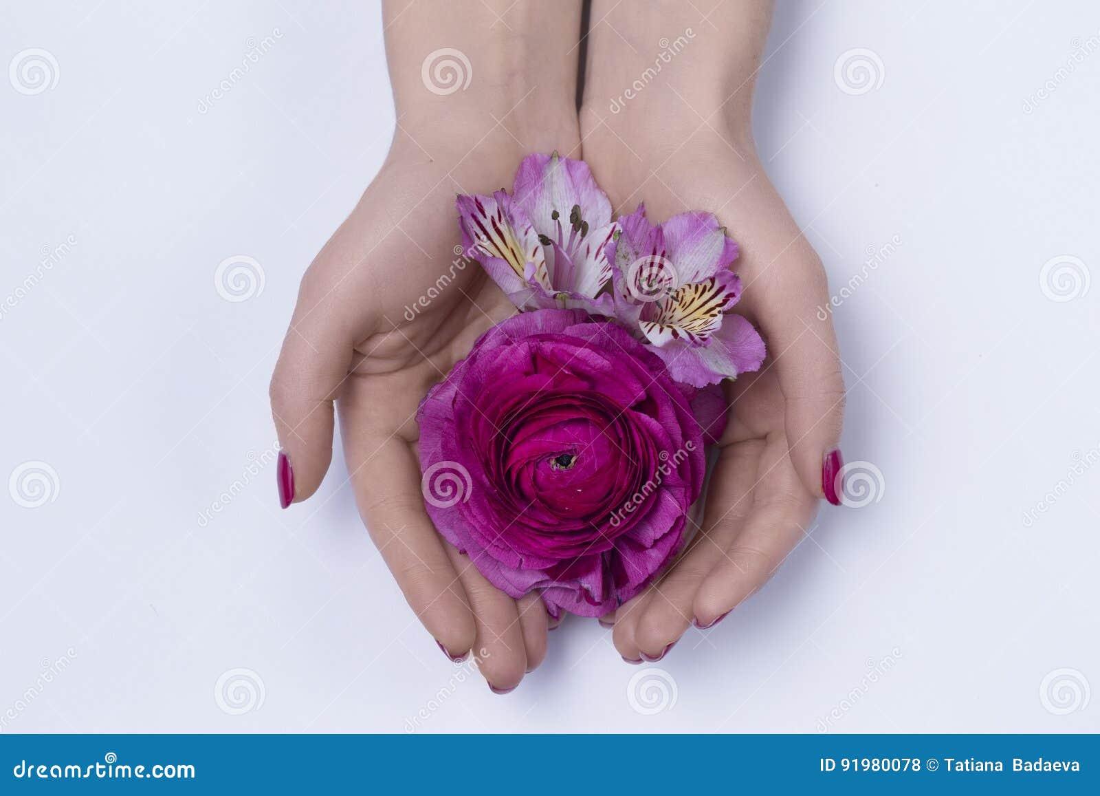 Mãos de uma mulher com flores
