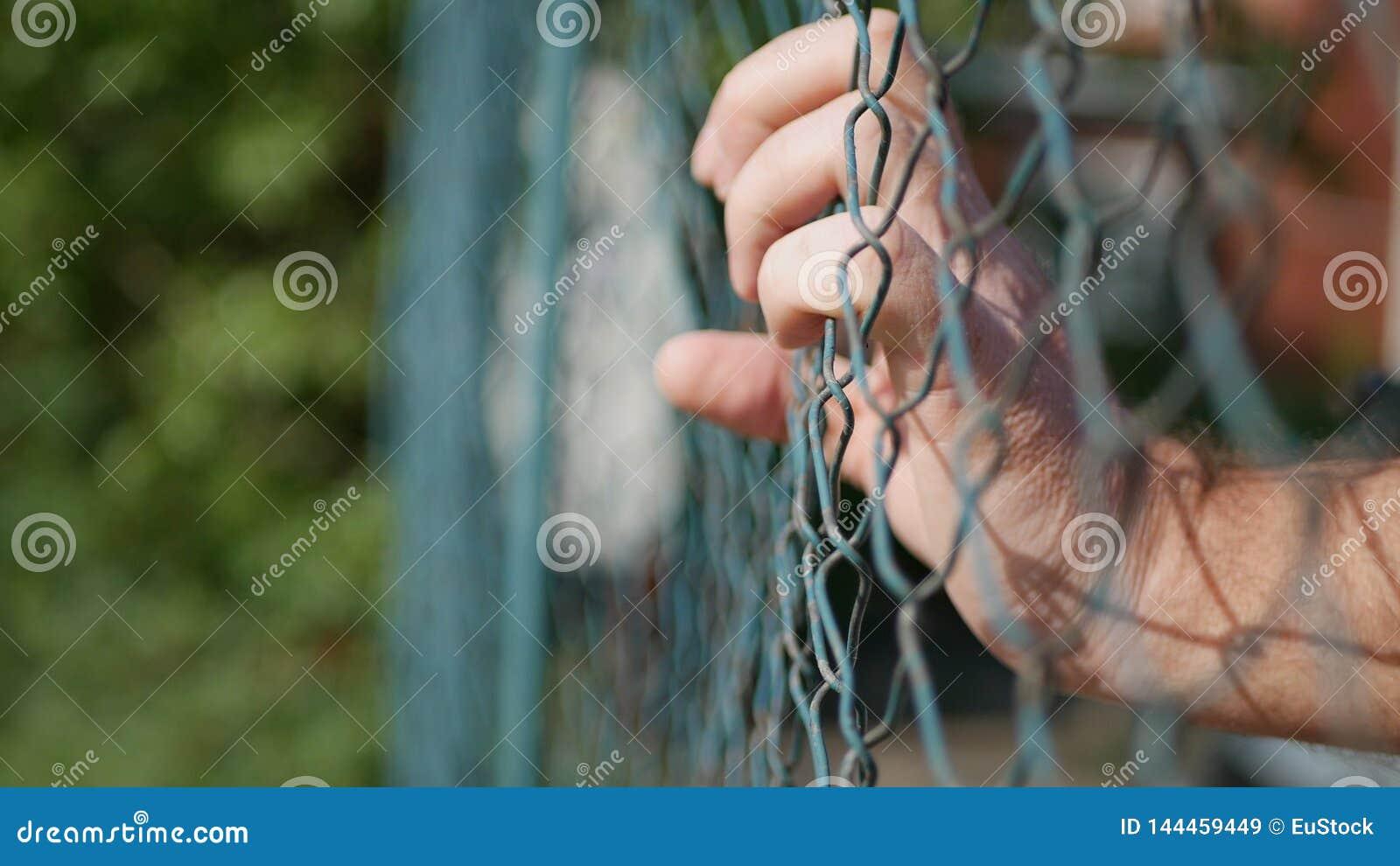 Mãos do homem que penduram em uma cerca metálica em uma área da proteção
